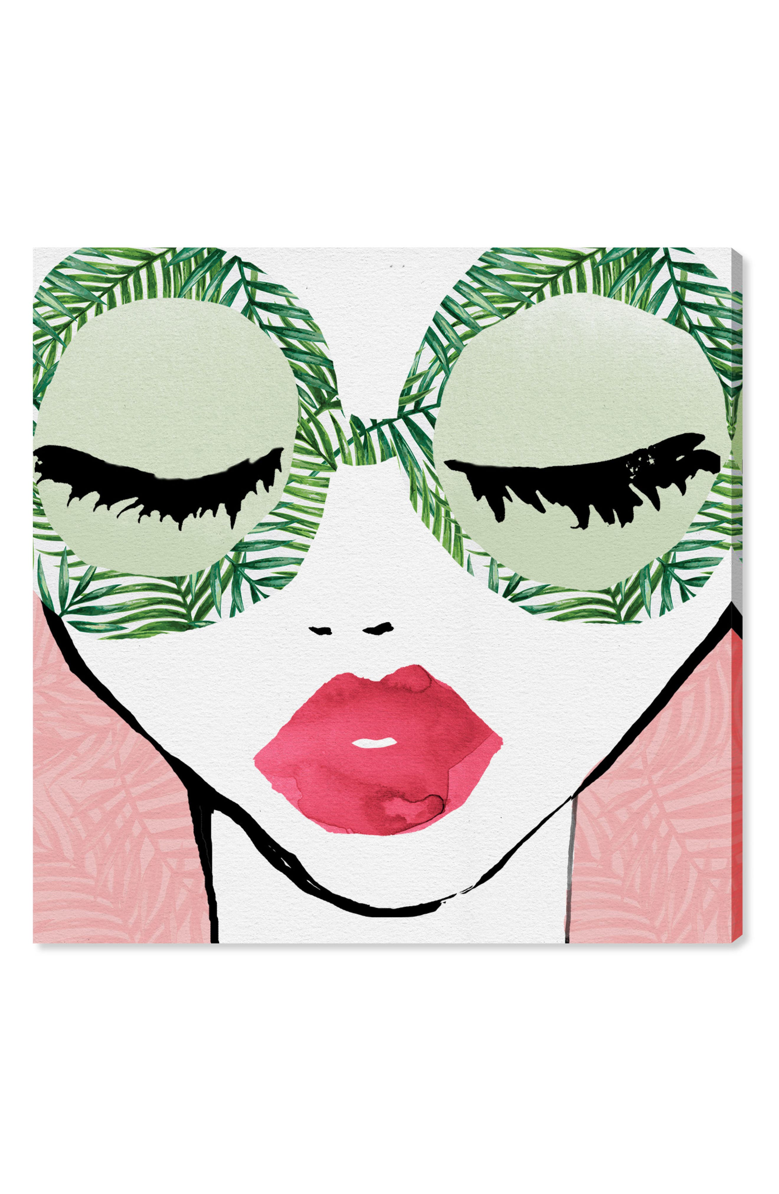 Plant Lady Glasses Canvas Wall Art,                         Main,                         color, Green