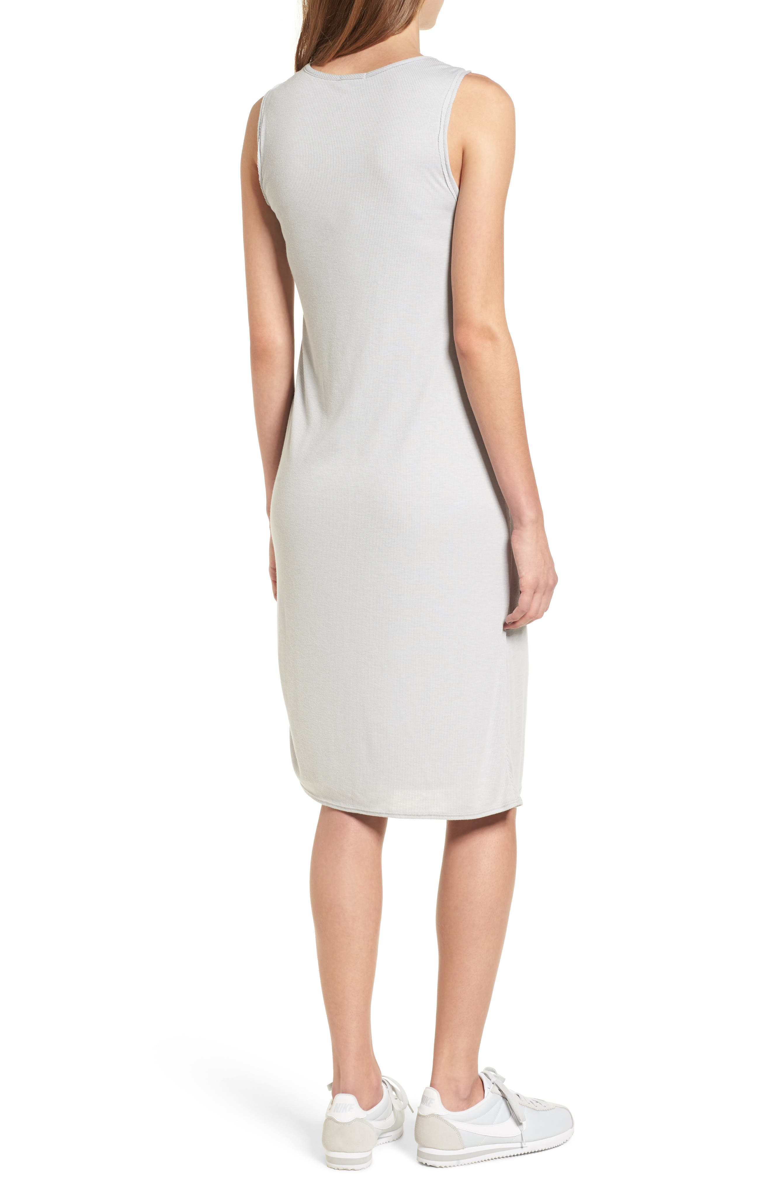 Ruched Rib Knit Dress,                             Alternate thumbnail 2, color,                             Heather Grey