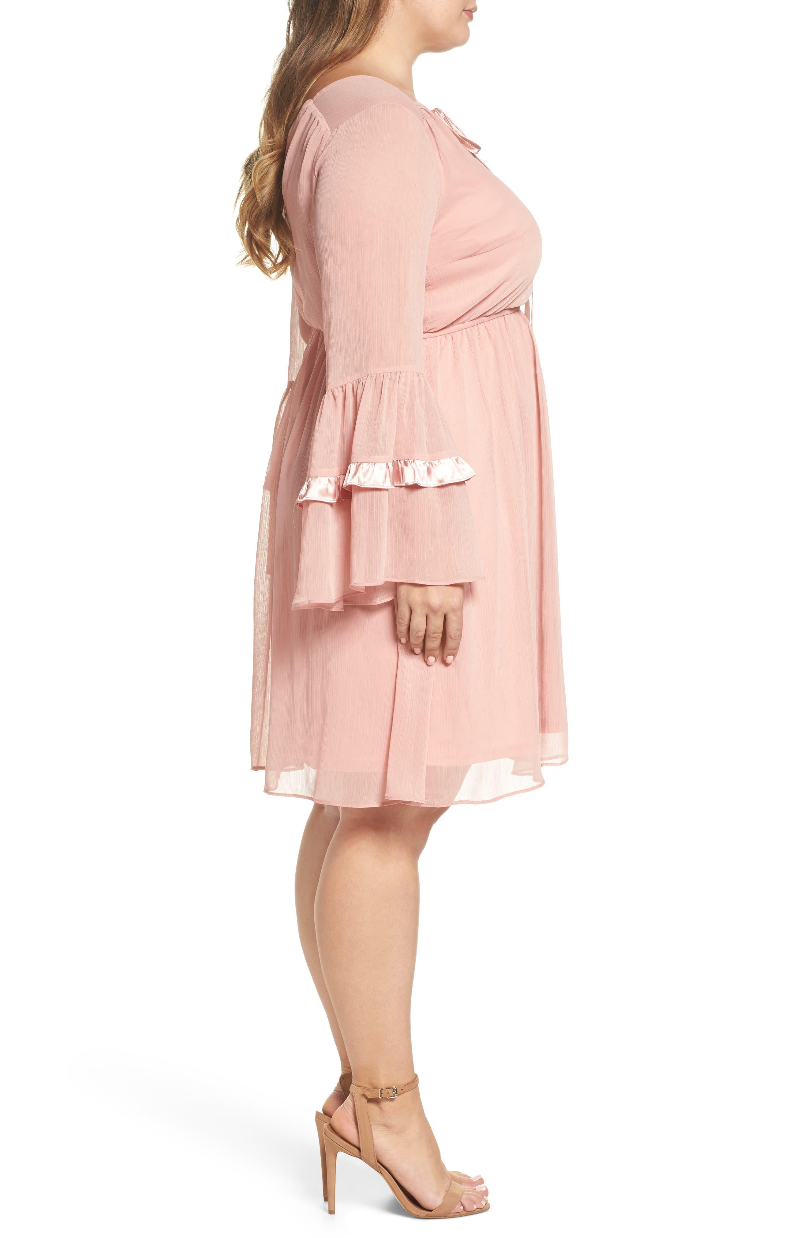 Satin Trim Crinkle Dress,                             Alternate thumbnail 3, color,                             Blush