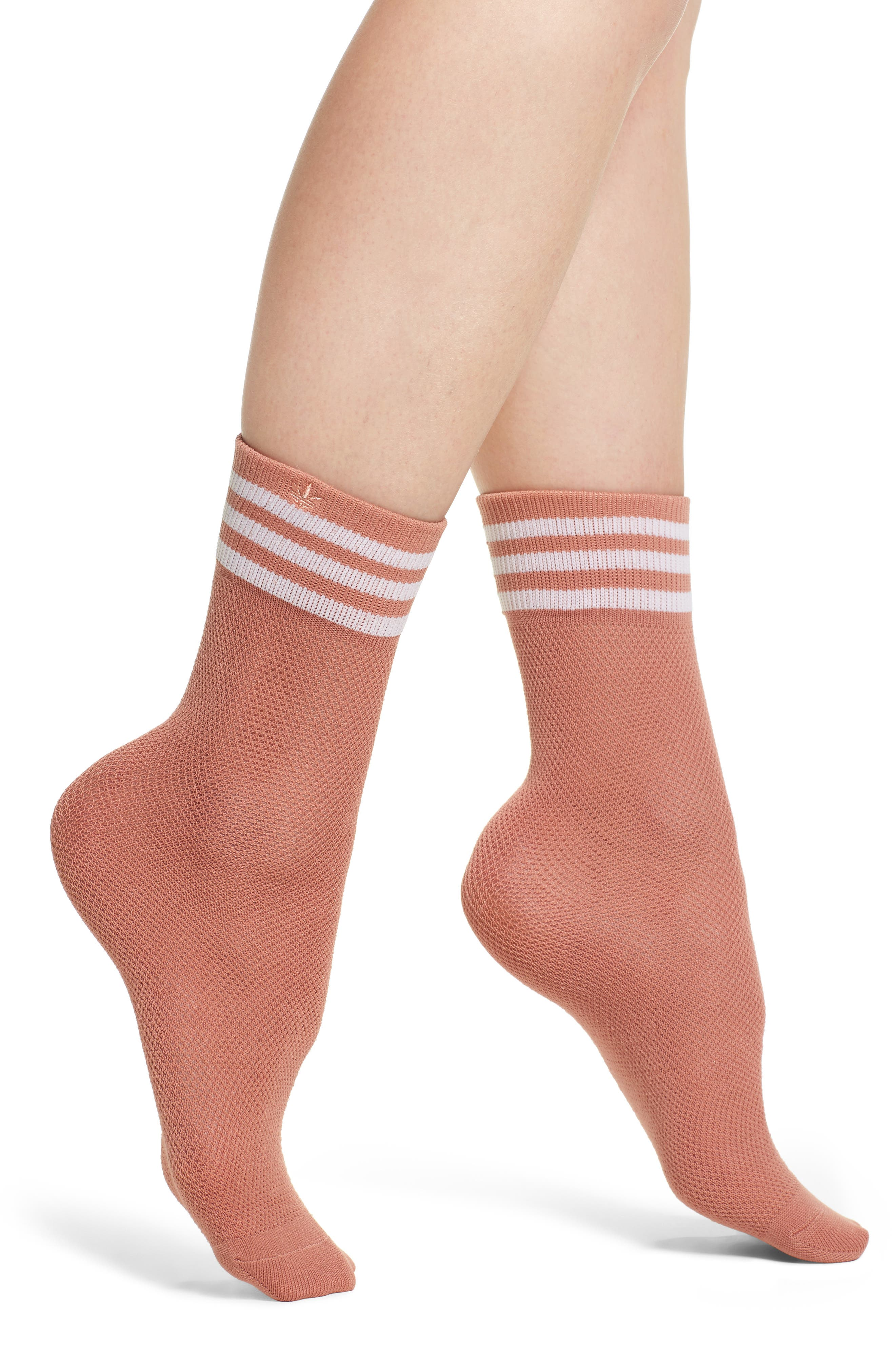 Stripe Mesh Ankle Socks,                             Main thumbnail 1, color,                             Med Pink