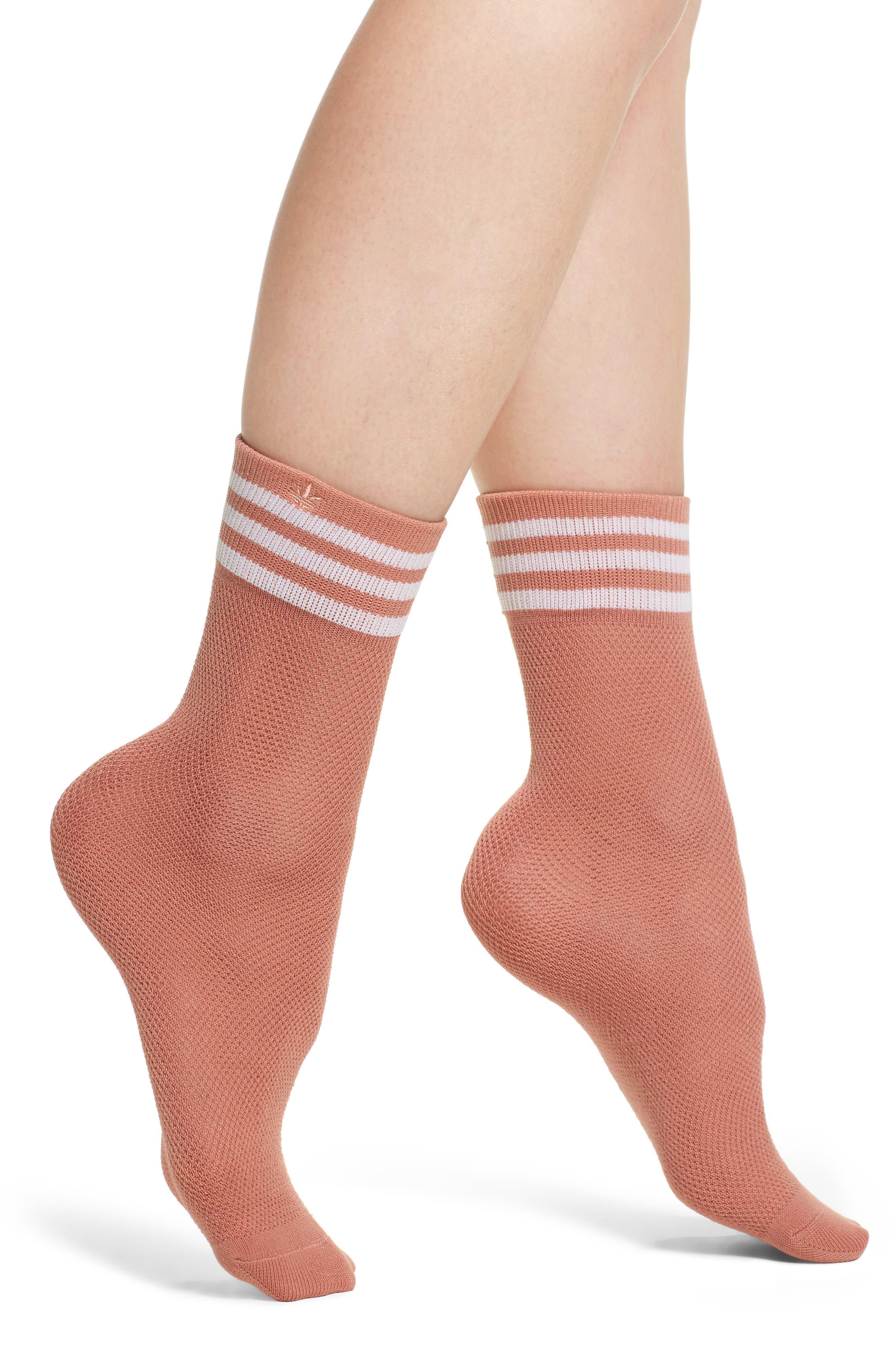 Stripe Mesh Ankle Socks,                         Main,                         color, Med Pink