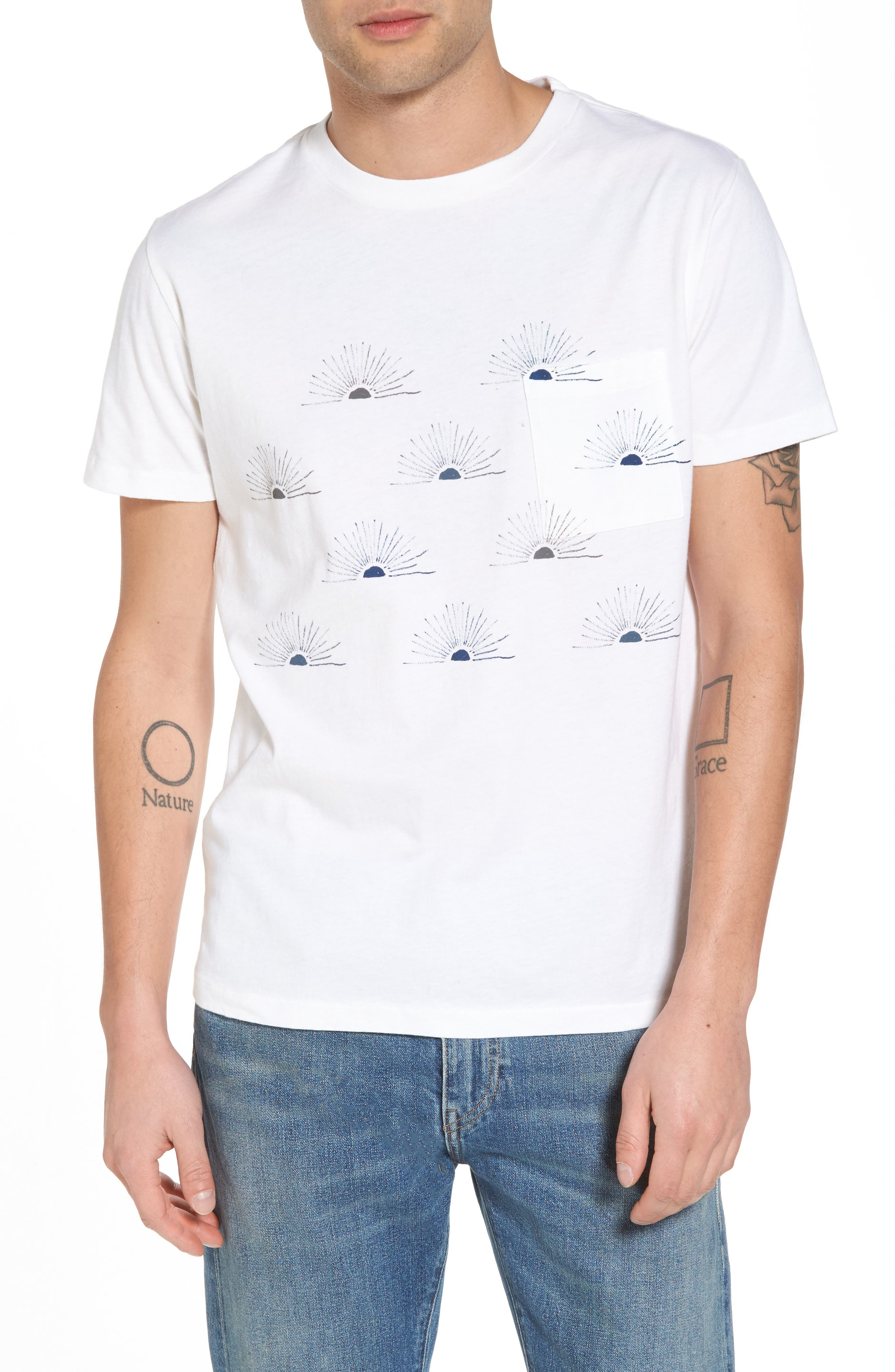 Graphic Pocket T-Shirt,                             Main thumbnail 1, color,                             All Over Sunrise Blue