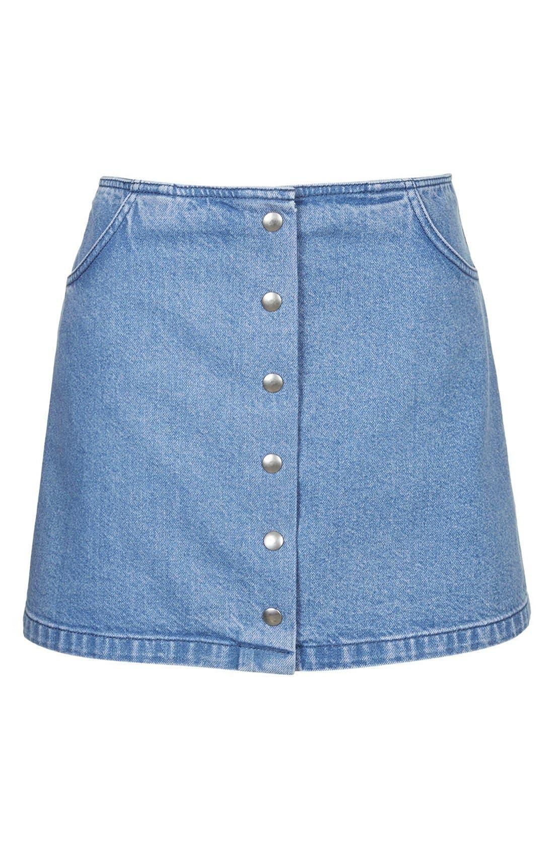 Alternate Image 5  - Topshop Moto Snap Front Denim Skirt (Brit Pop-In)