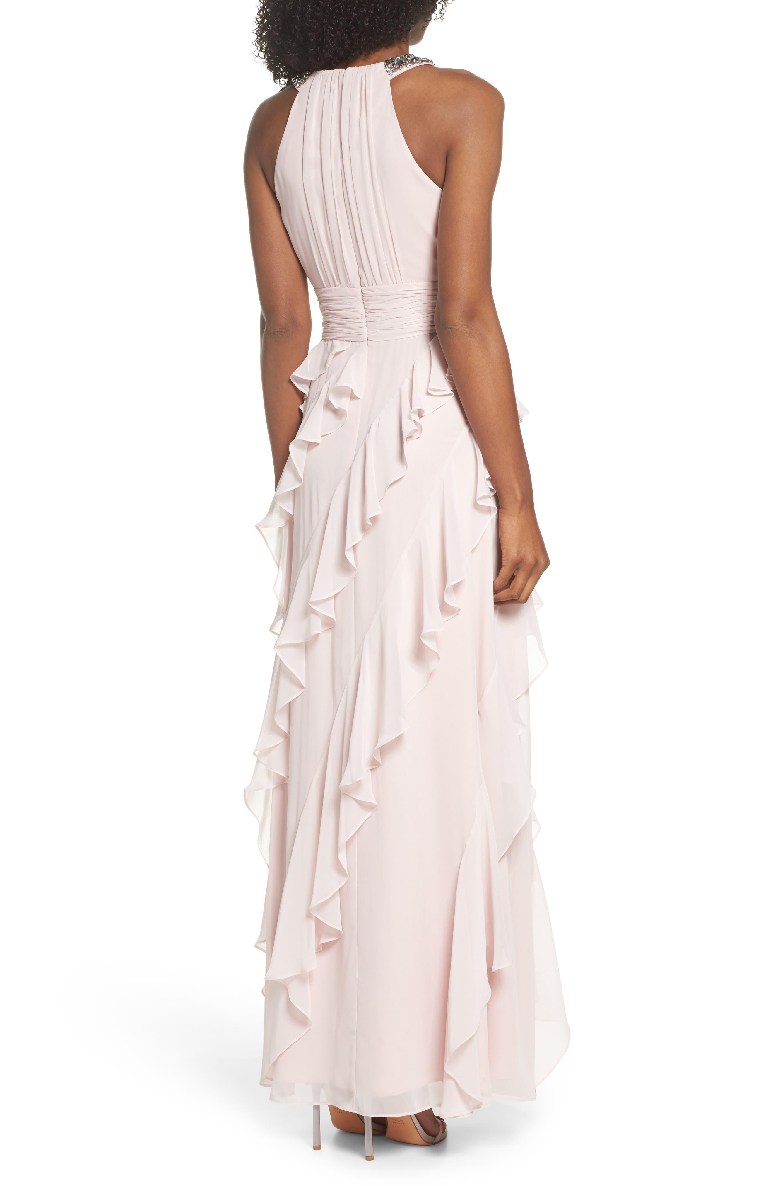 Embellished Ruffle Chiffon Gown,                             Alternate thumbnail 2, color,                             Blush