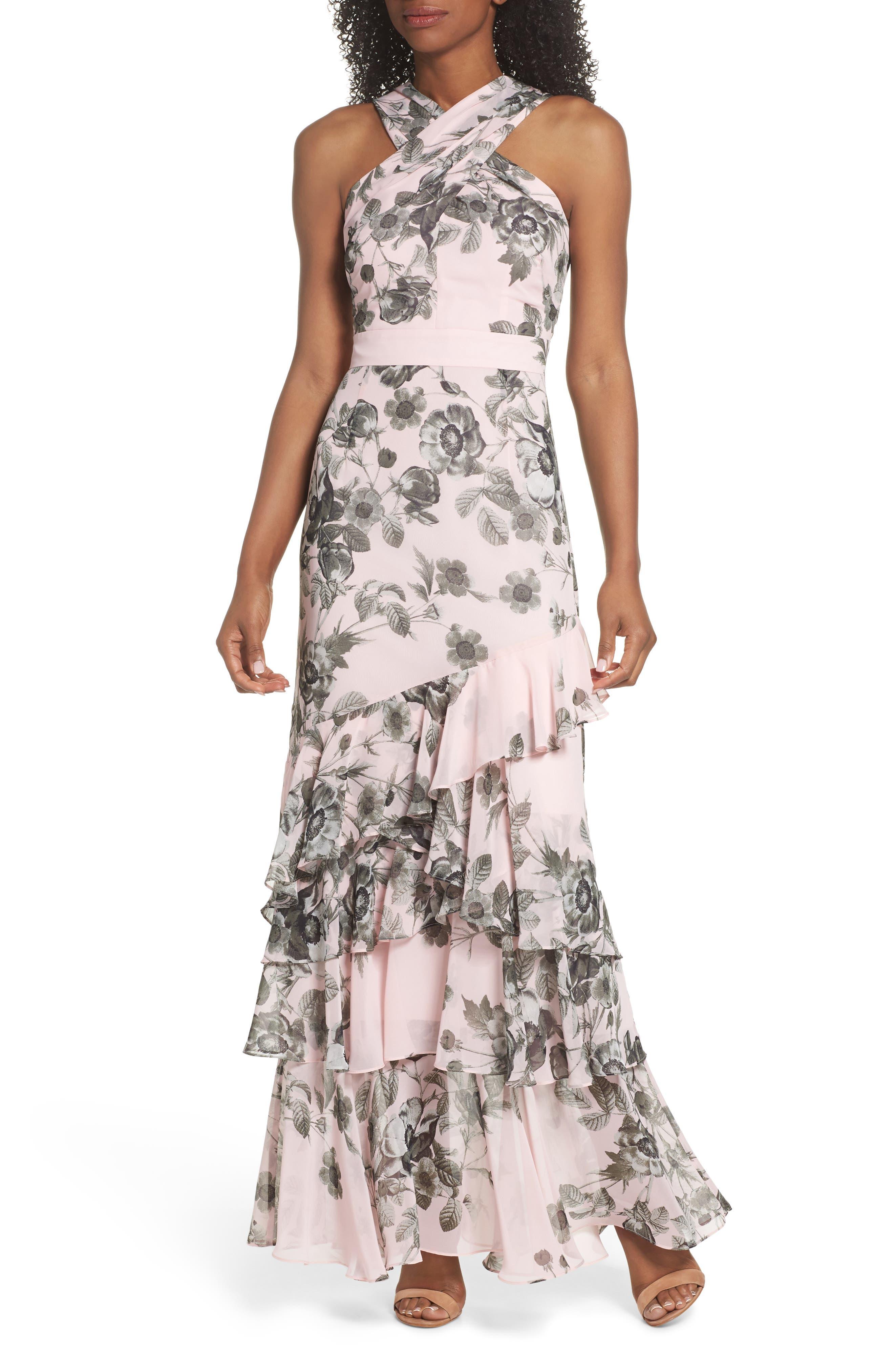 Halter Maxi Dress,                         Main,                         color, Pink