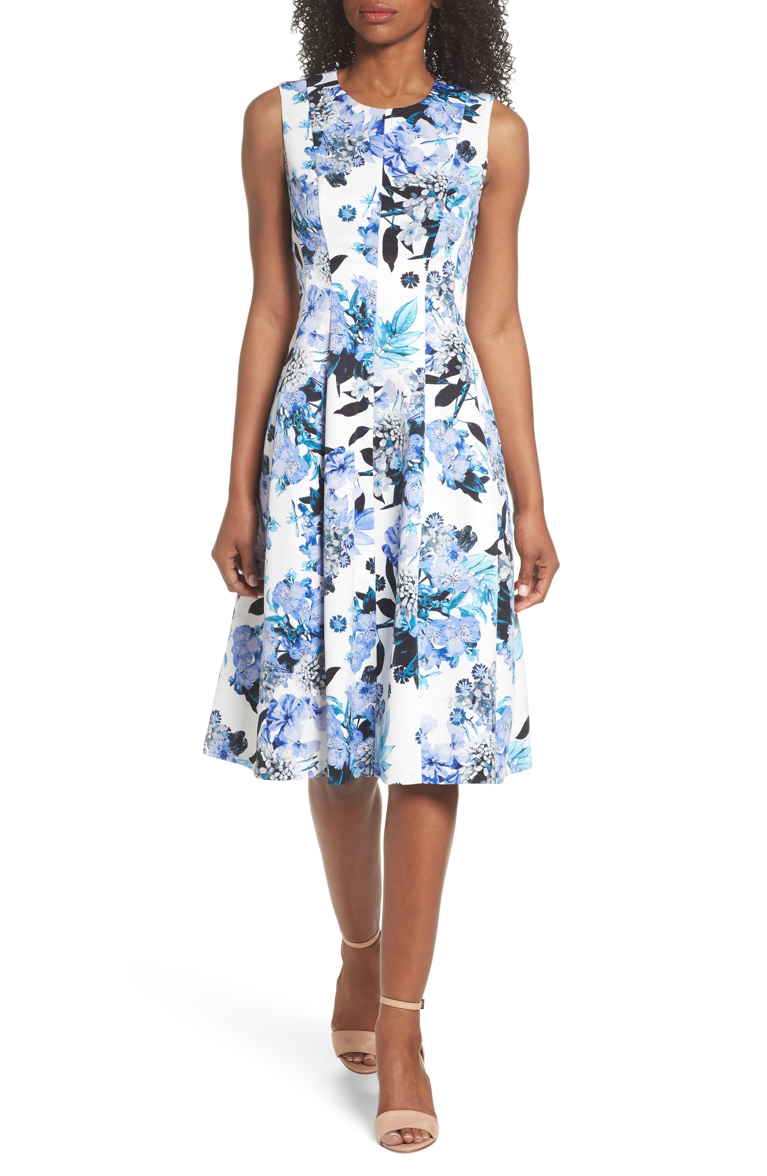 Floral Fit & Flare Dress,                         Main,                         color, Blue