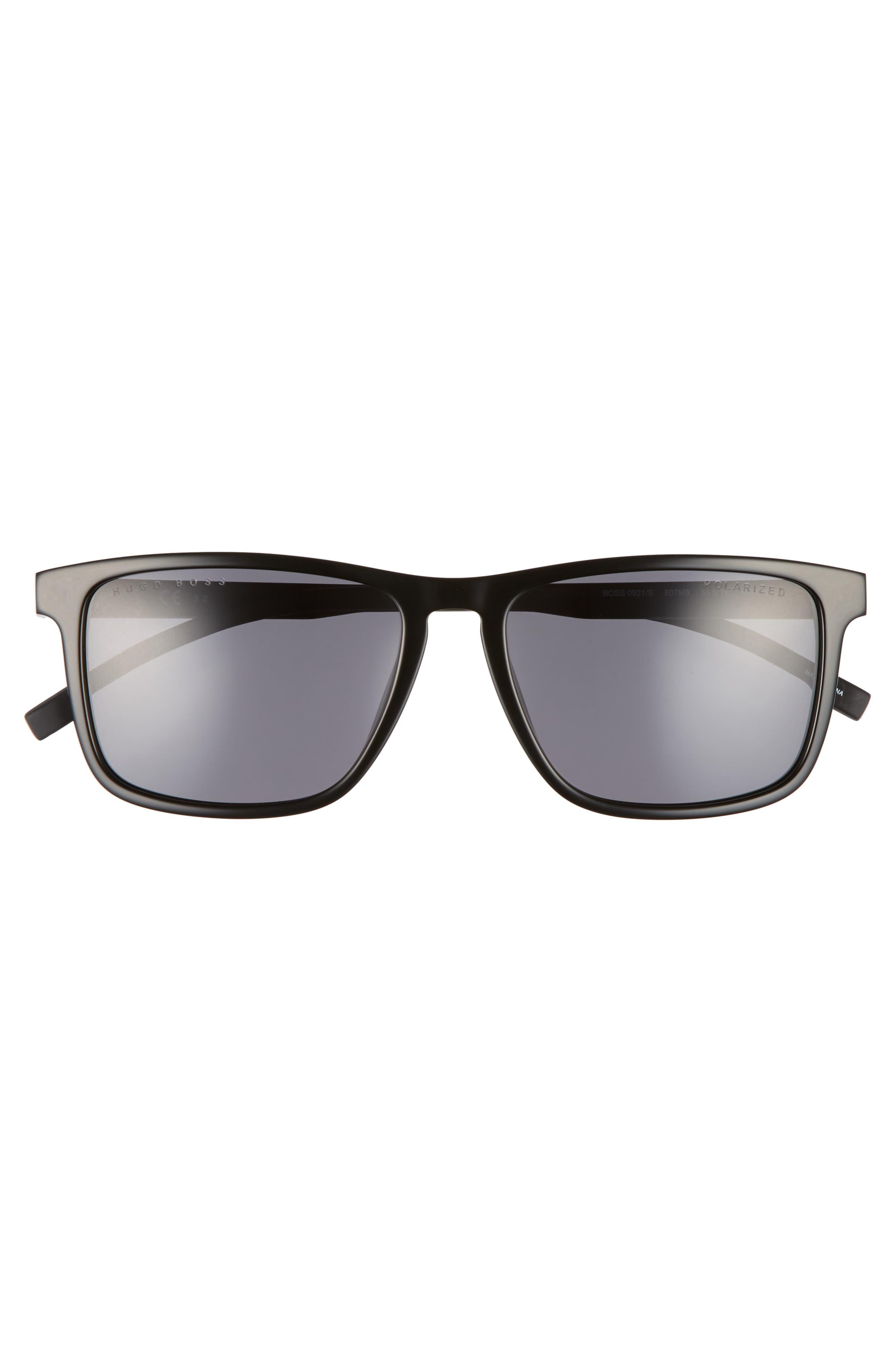 55mm Sunglasses,                             Alternate thumbnail 2, color,                             Black/ Gray Polarized