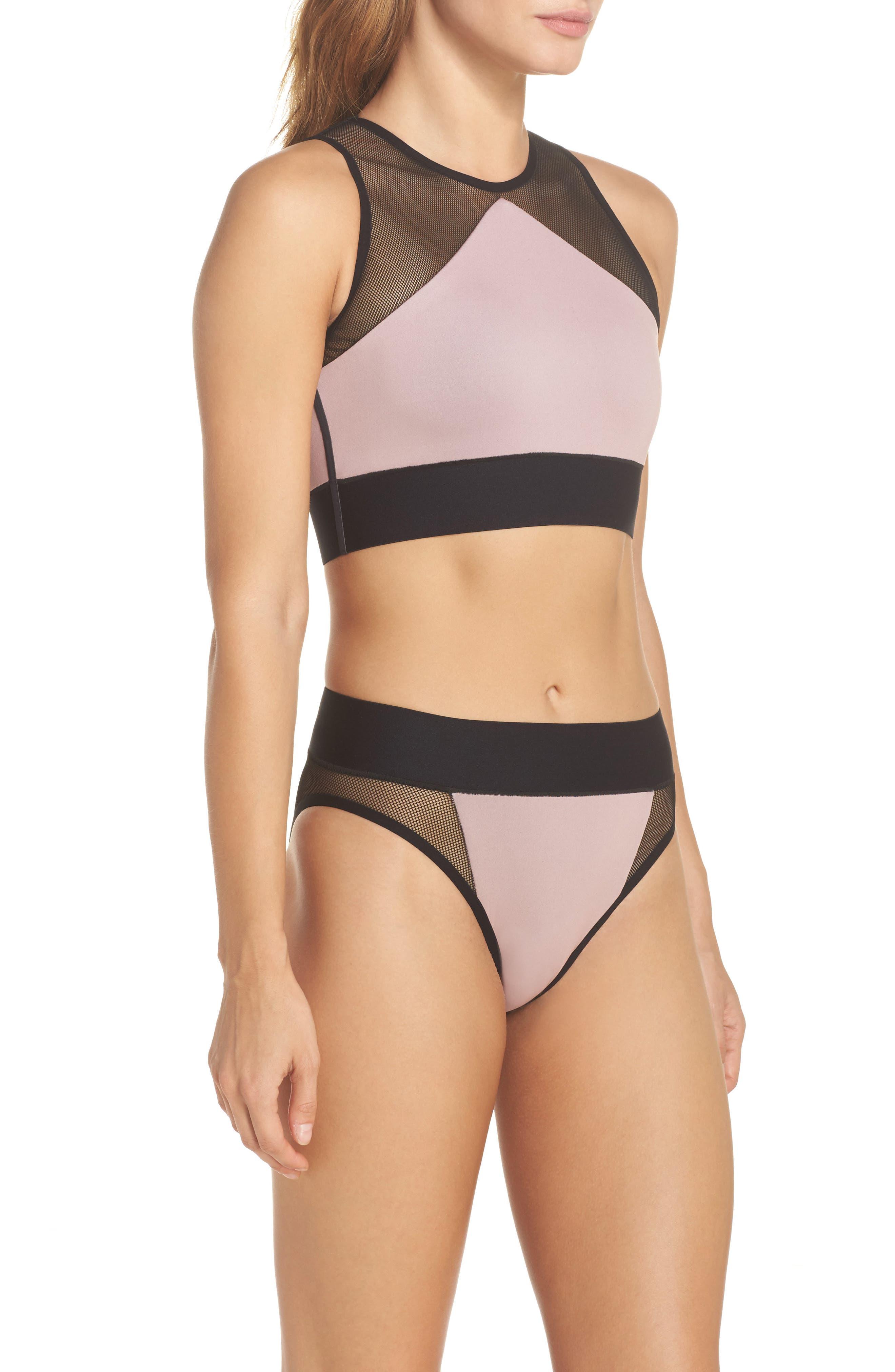 Adrift Sport Mesh Bikini Top,                             Alternate thumbnail 7, color,                             Blush Pink