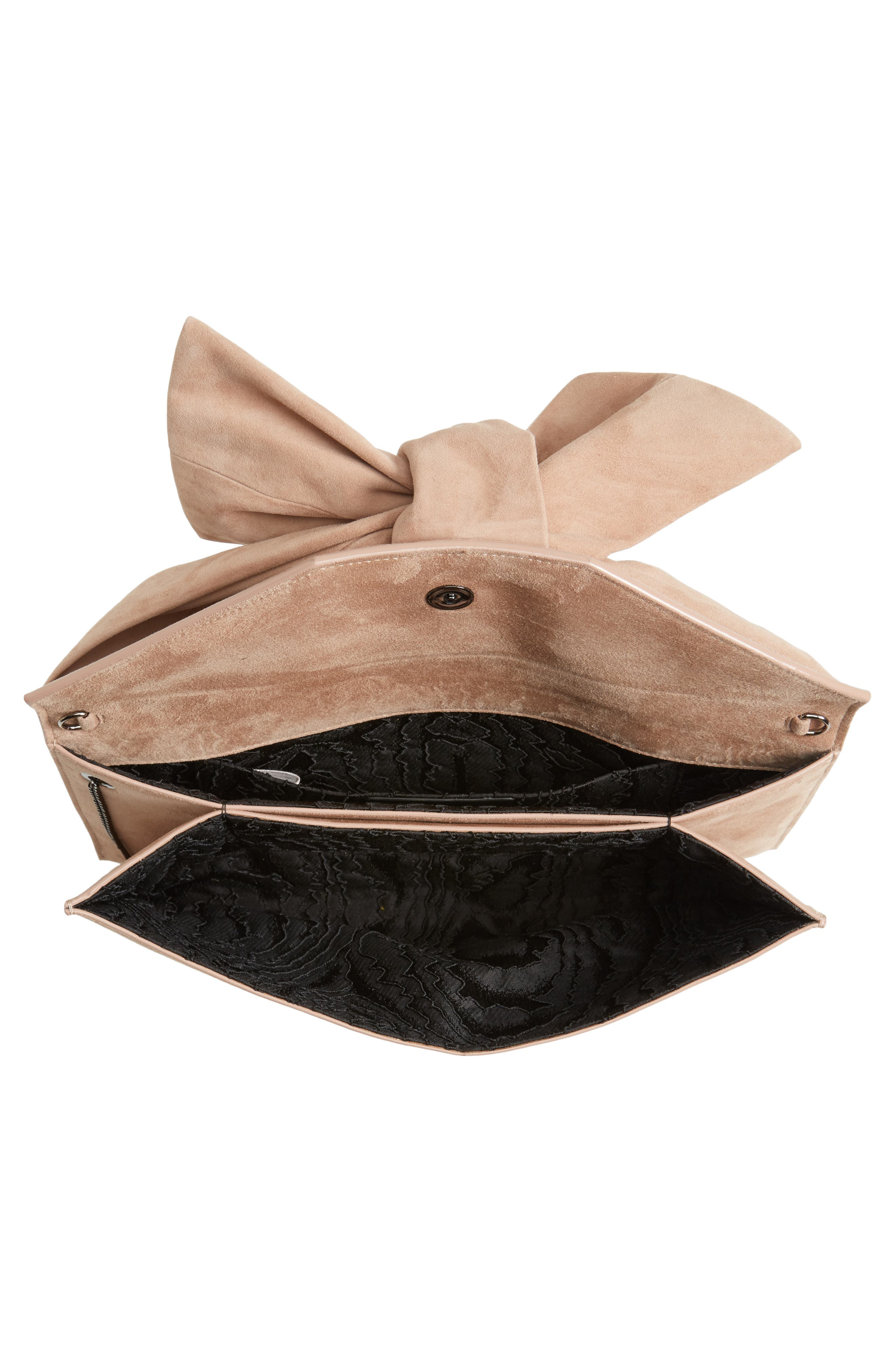 Riva Sue Suede Bow Clutch,                             Alternate thumbnail 4, color,                             Ballet Pink