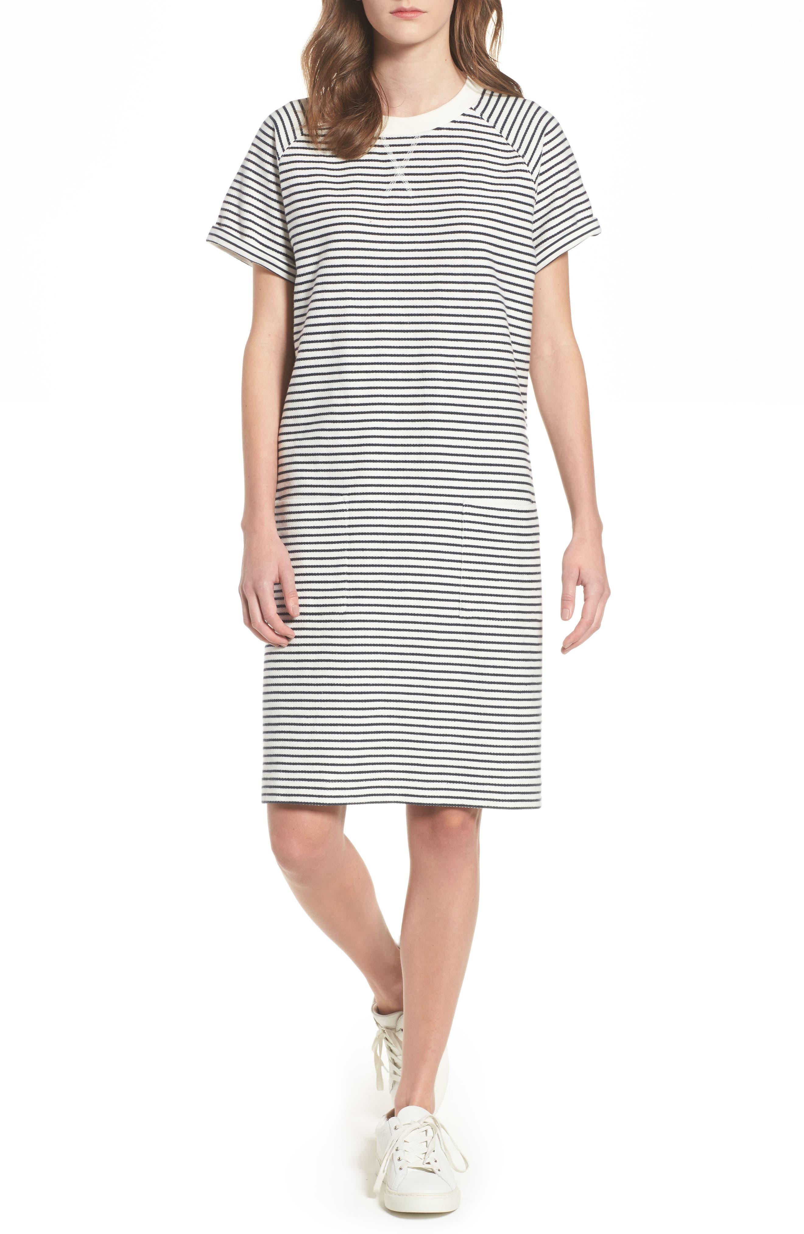 Monreith Stripe Shift Dress,                             Main thumbnail 1, color,                             White/ Navy