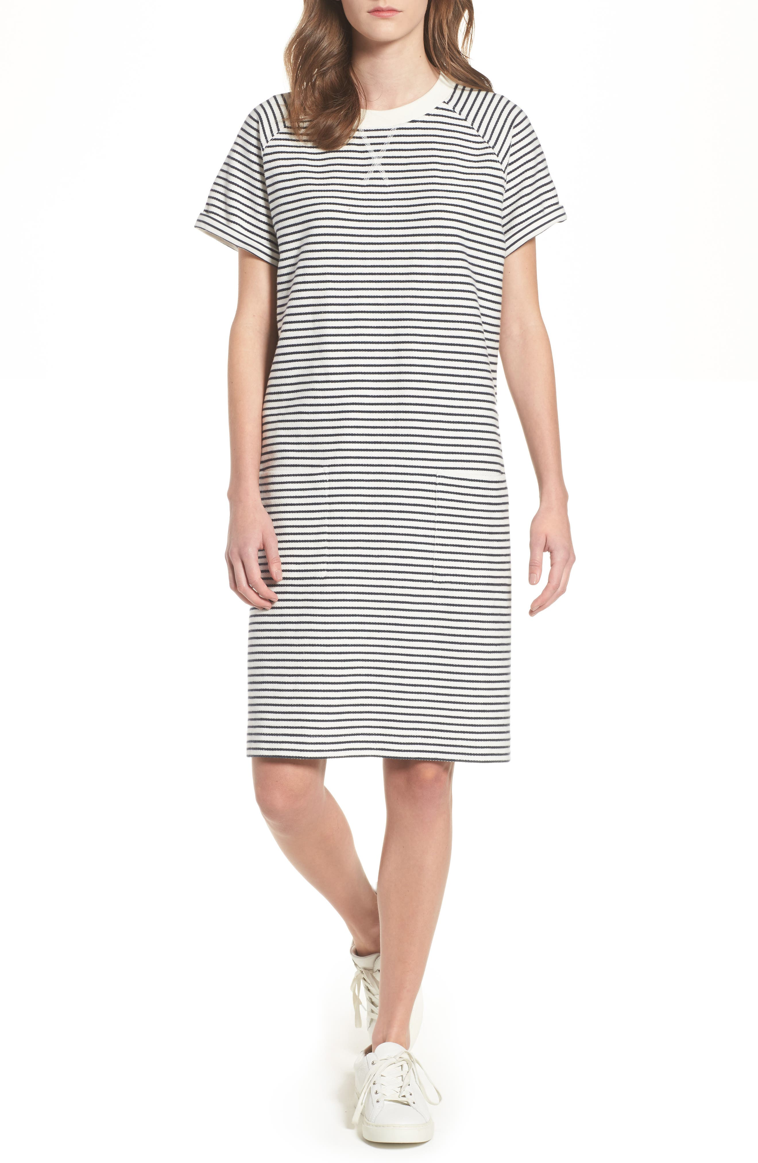 Monreith Stripe Shift Dress,                         Main,                         color, White/ Navy