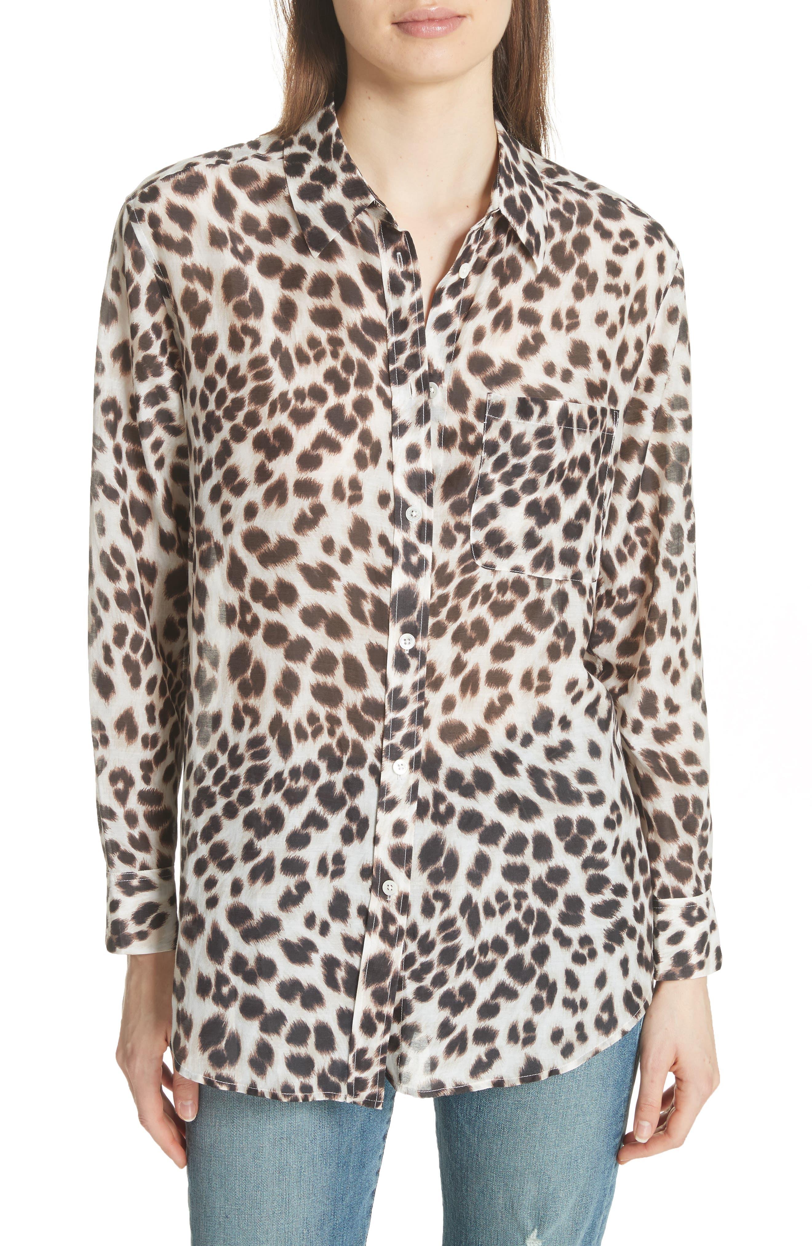 Daddy Leopard Print Blouse,                         Main,                         color, Bright White Multi