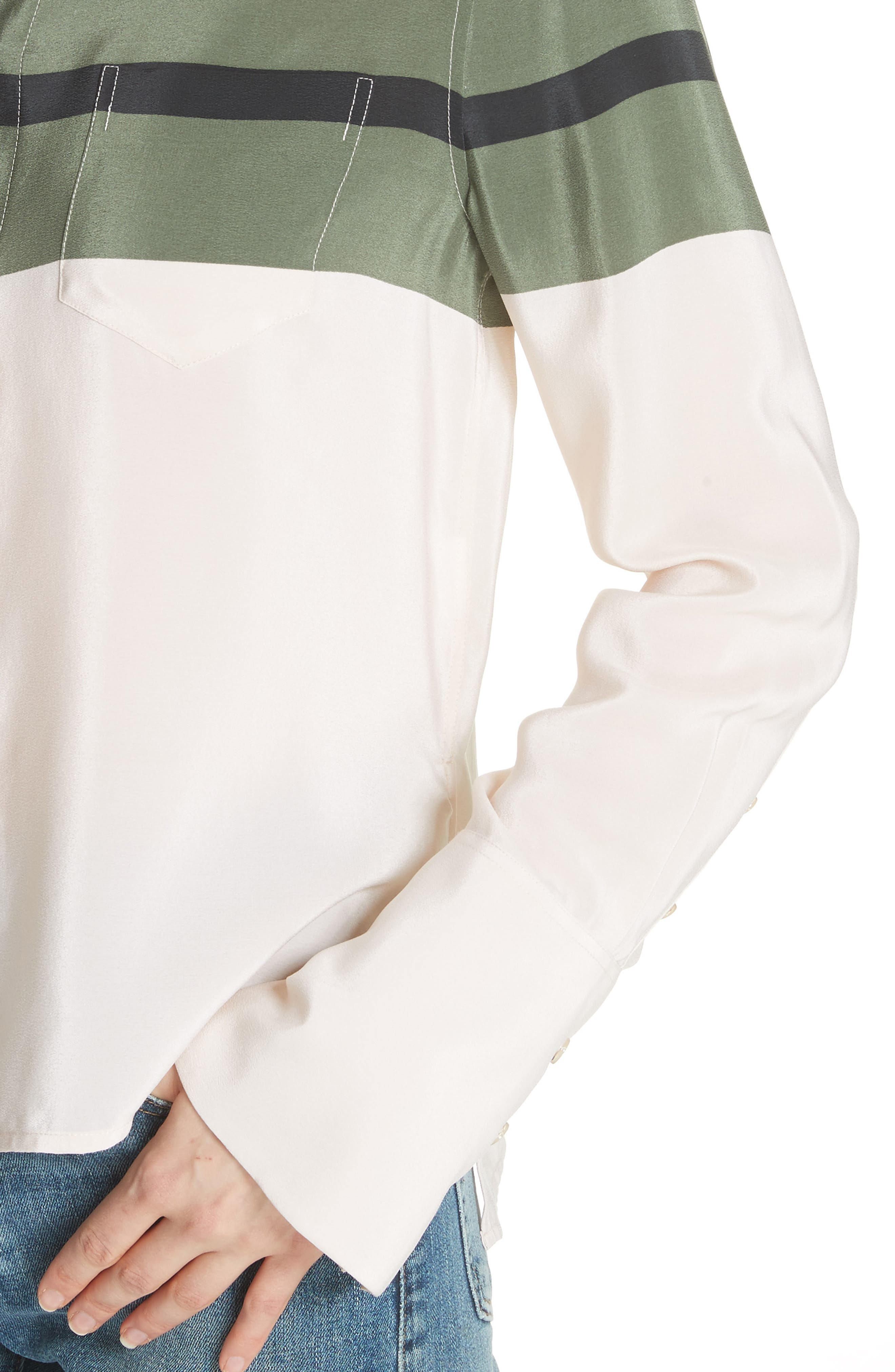 Huntley Stripe Block Silk Blouse,                             Alternate thumbnail 4, color,                             French Vanilla-Camouflage