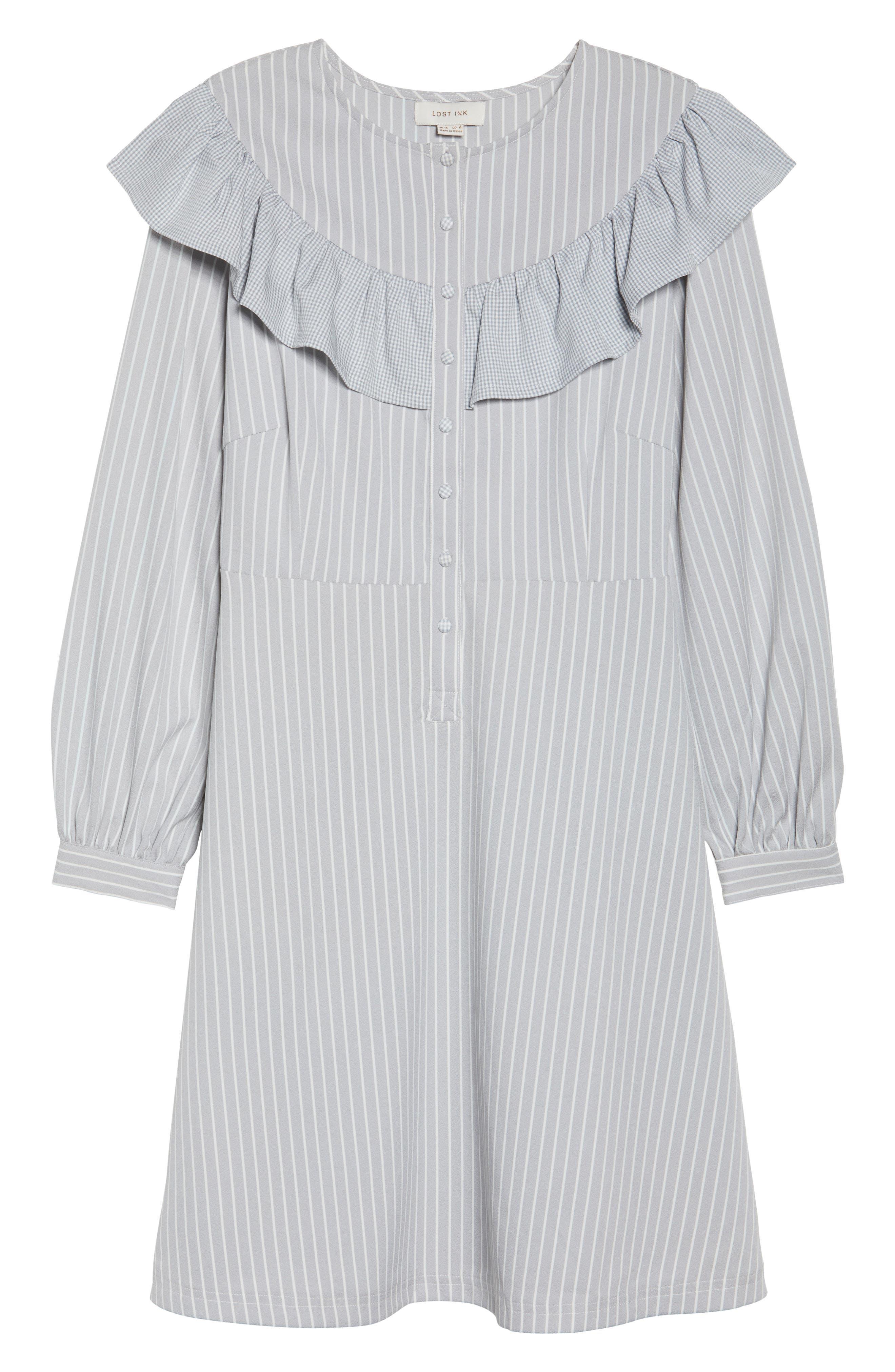 Check Ruffle Stripe Dress,                             Alternate thumbnail 5, color,                             Grey