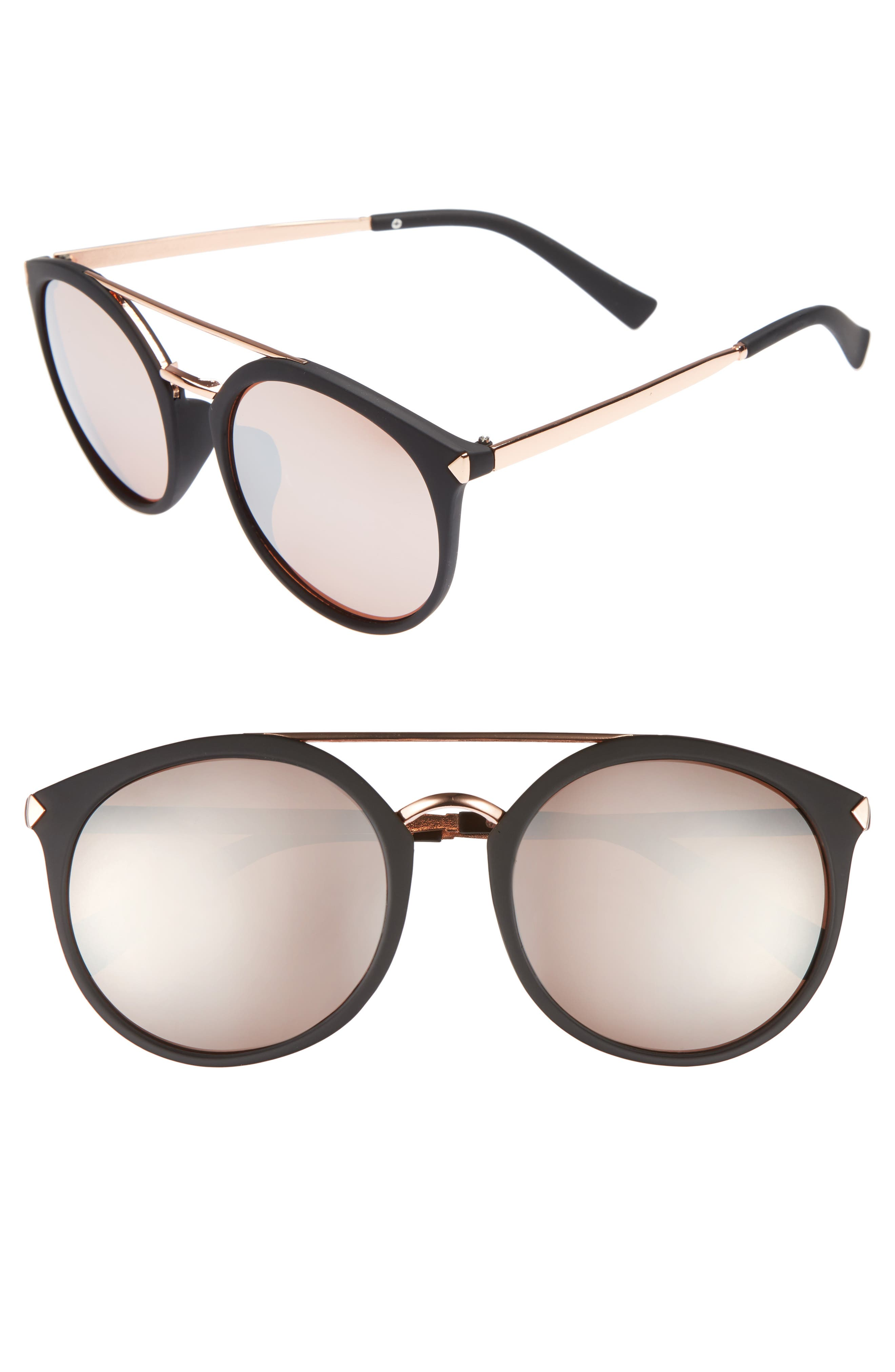 55mm Mirrored Sunglasses,                         Main,                         color, Black/ Rose Gold