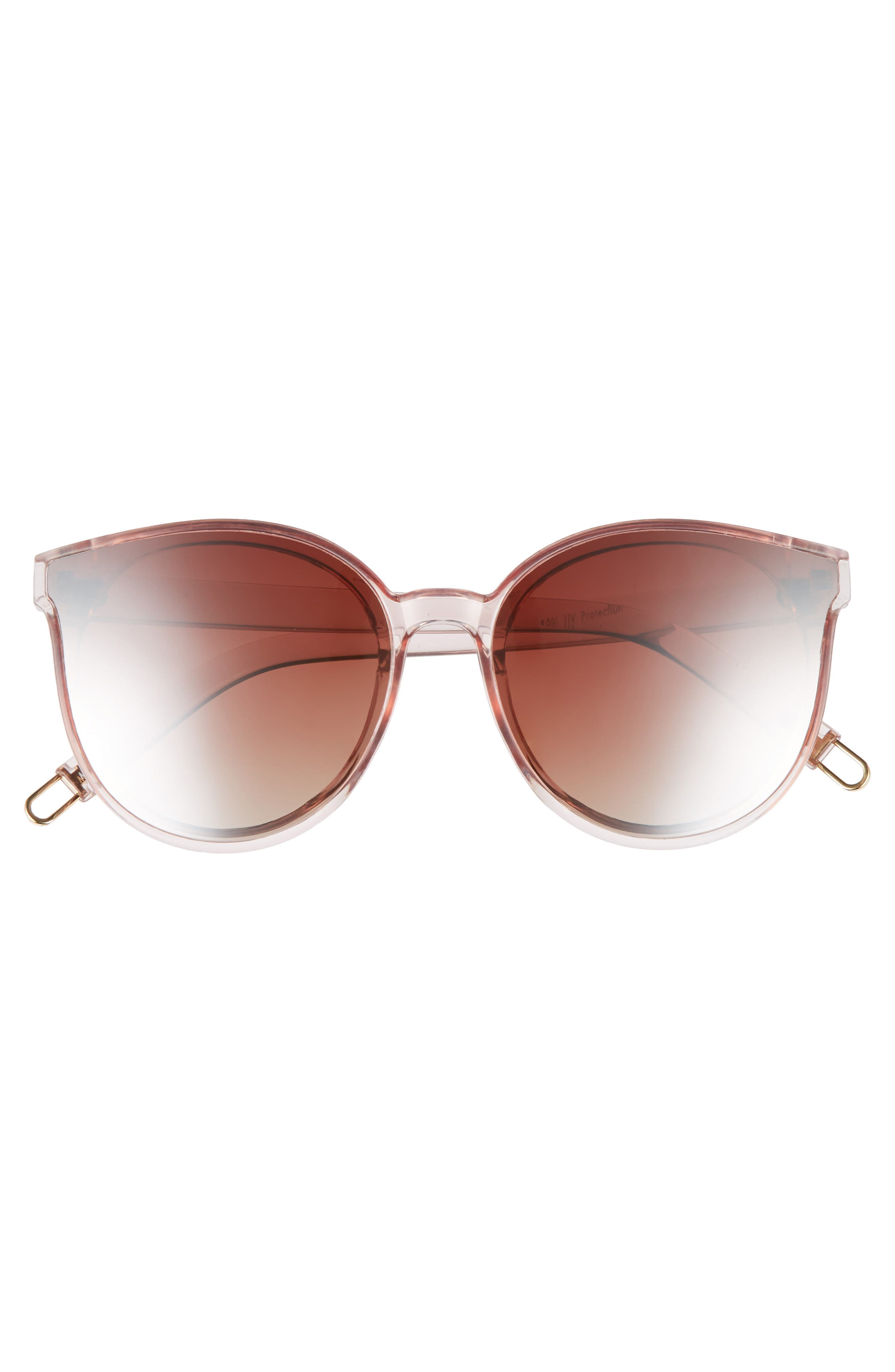 59mm Metal Tip Round Sunglasses,                             Alternate thumbnail 3, color,                             Clear/ Pink