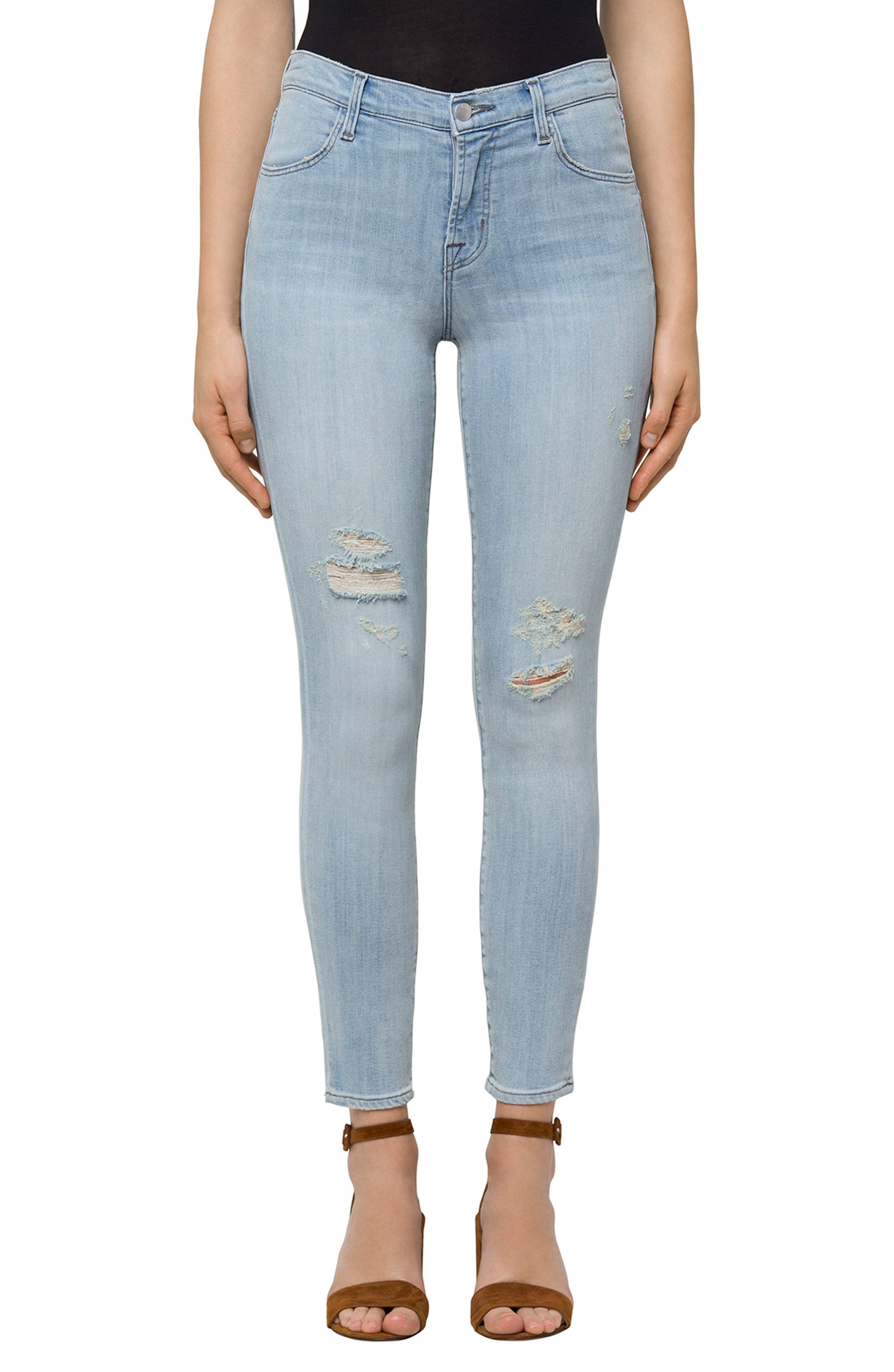 Alana High Waist Ankle Skinny Jeans,                         Main,                         color, Refresh Destruct