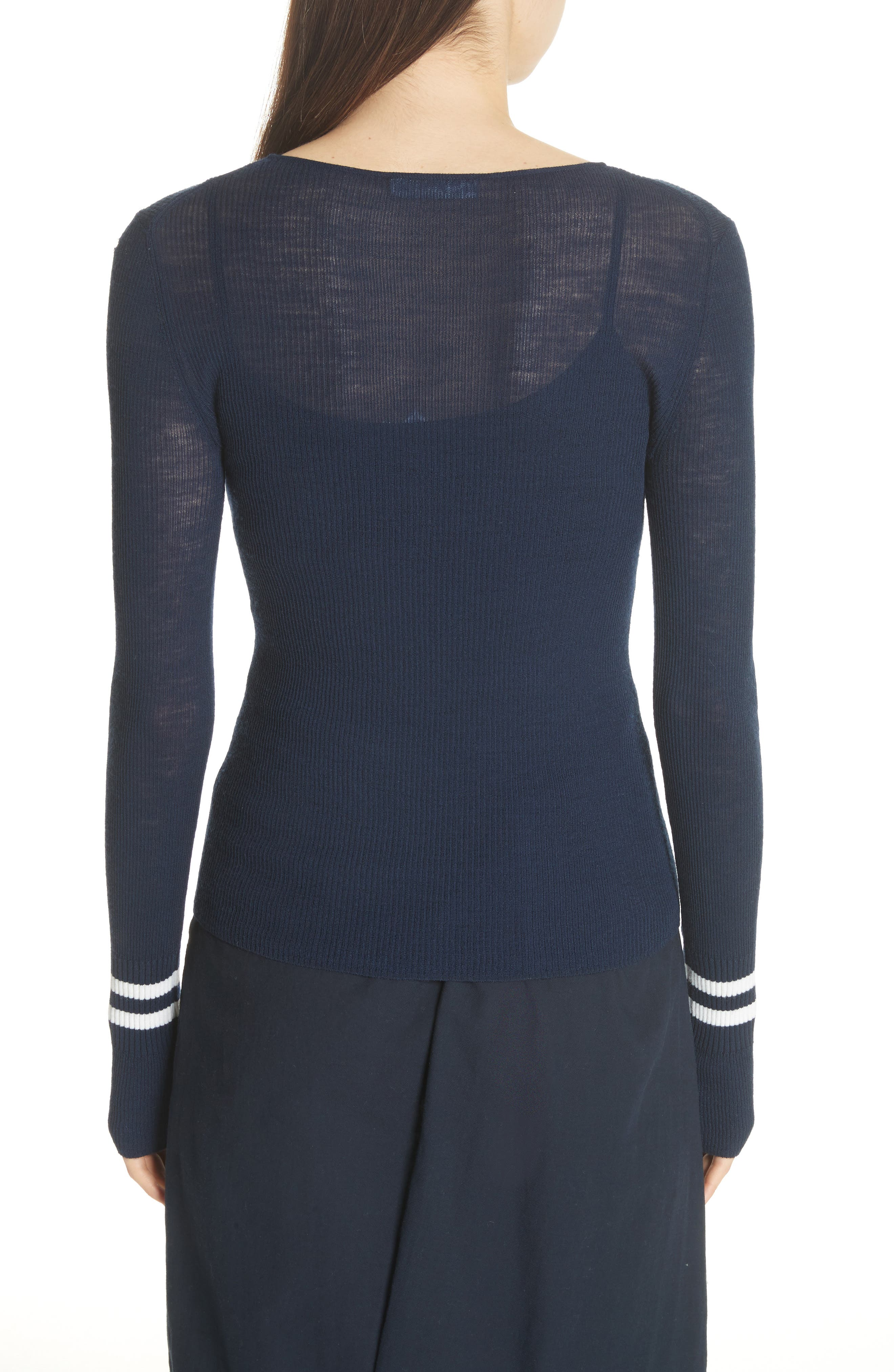 Stripe Cuff Wool Sweater,                             Alternate thumbnail 2, color,                             Coastal/ Optic White