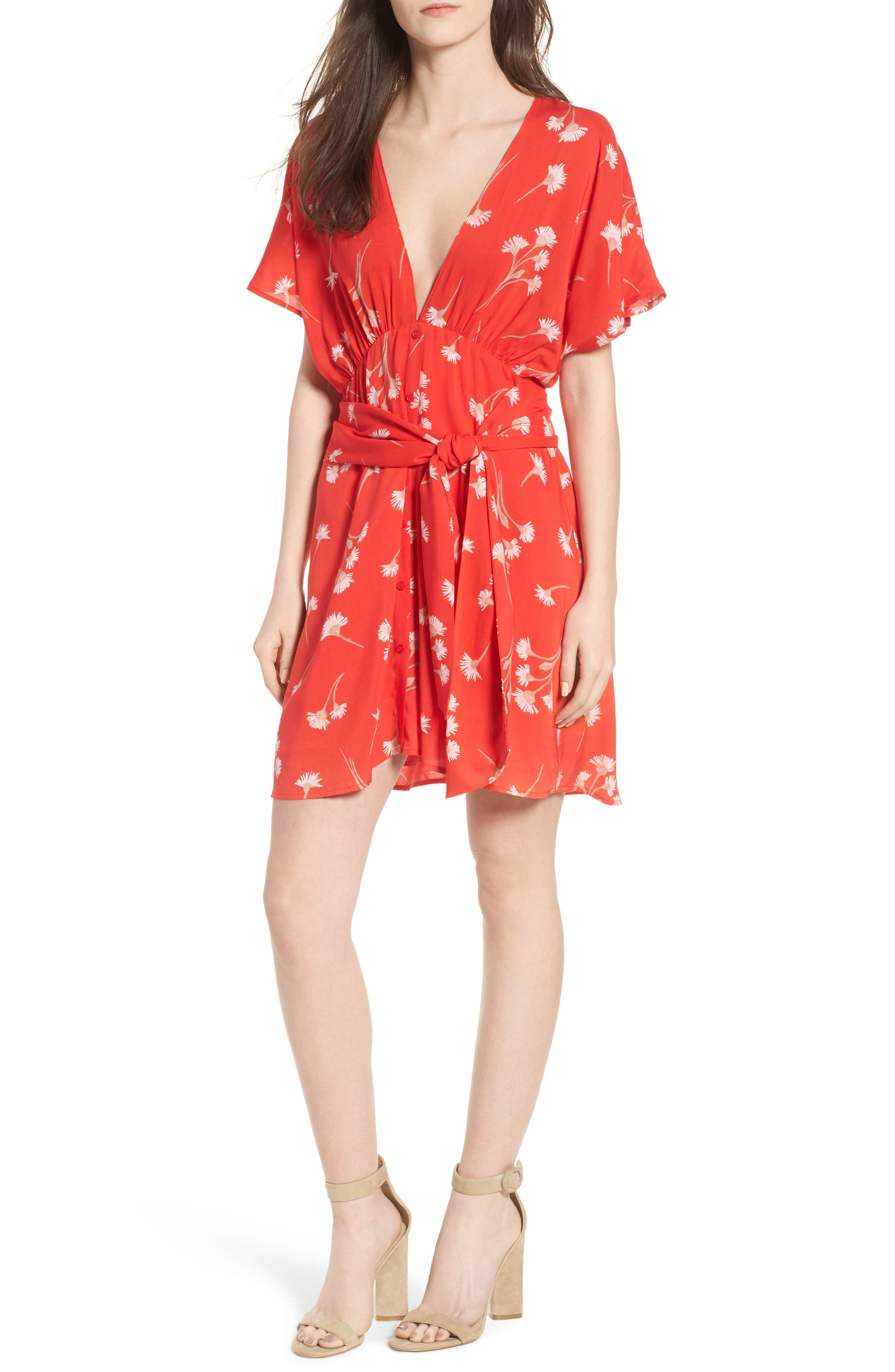 Floral Cutout Back Minidress,                         Main,                         color, Red Floral