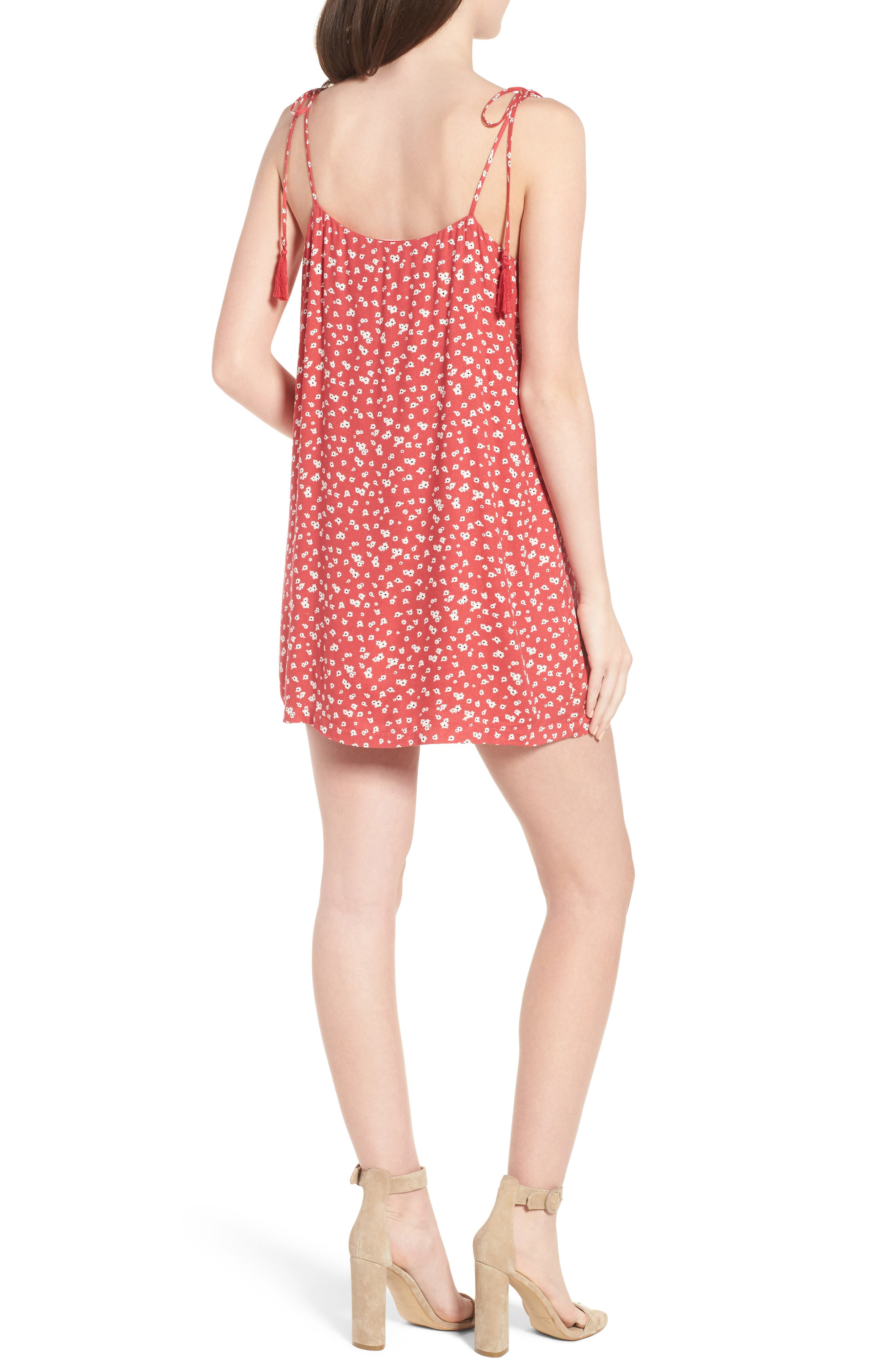 Button Down Minidress,                             Alternate thumbnail 2, color,                             Red-Ivory
