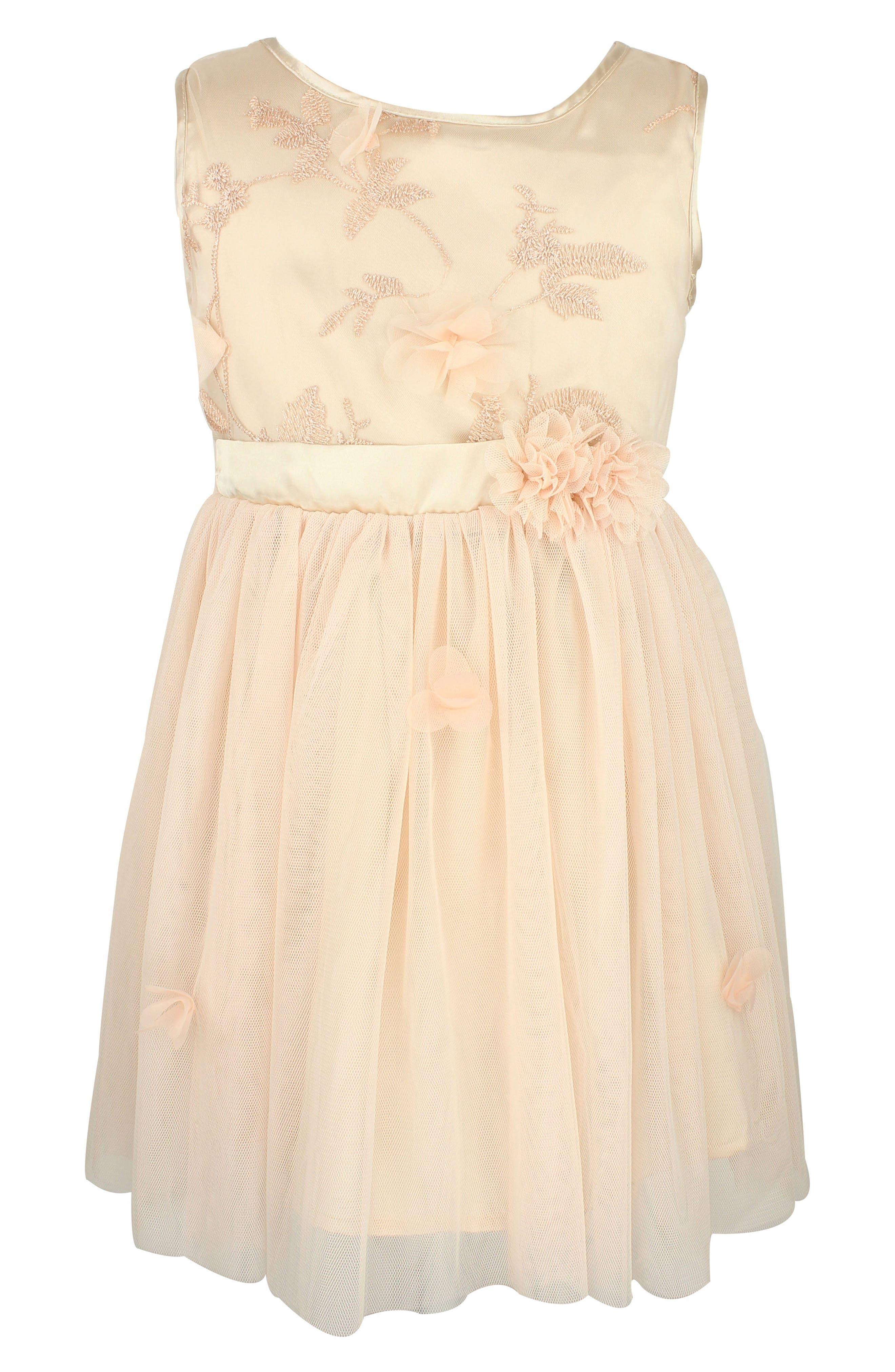 Flower Tulle Dress,                         Main,                         color, Ivory