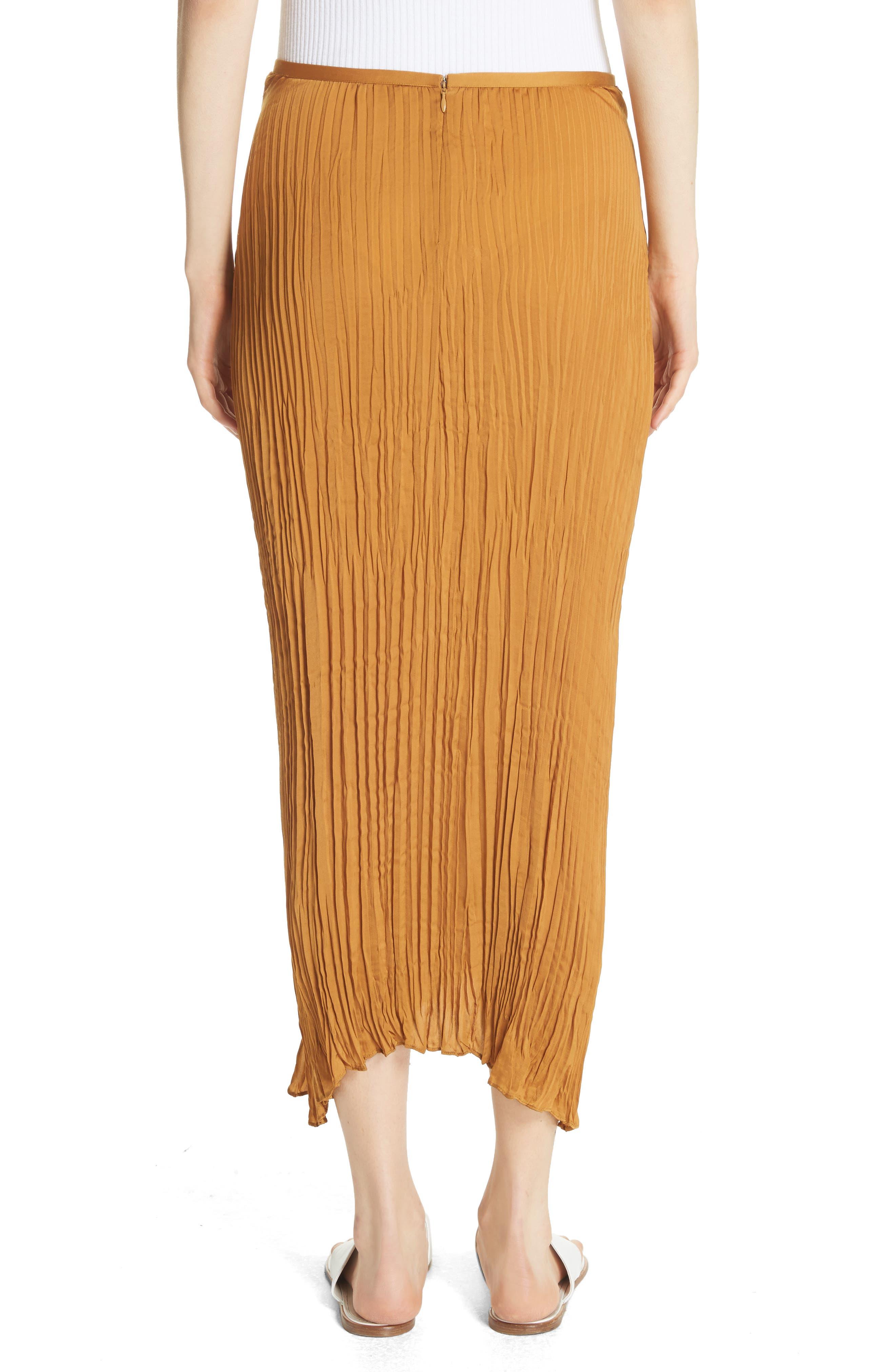 Pleated Tie Front Midi Skirt,                             Alternate thumbnail 2, color,                             Turmeric