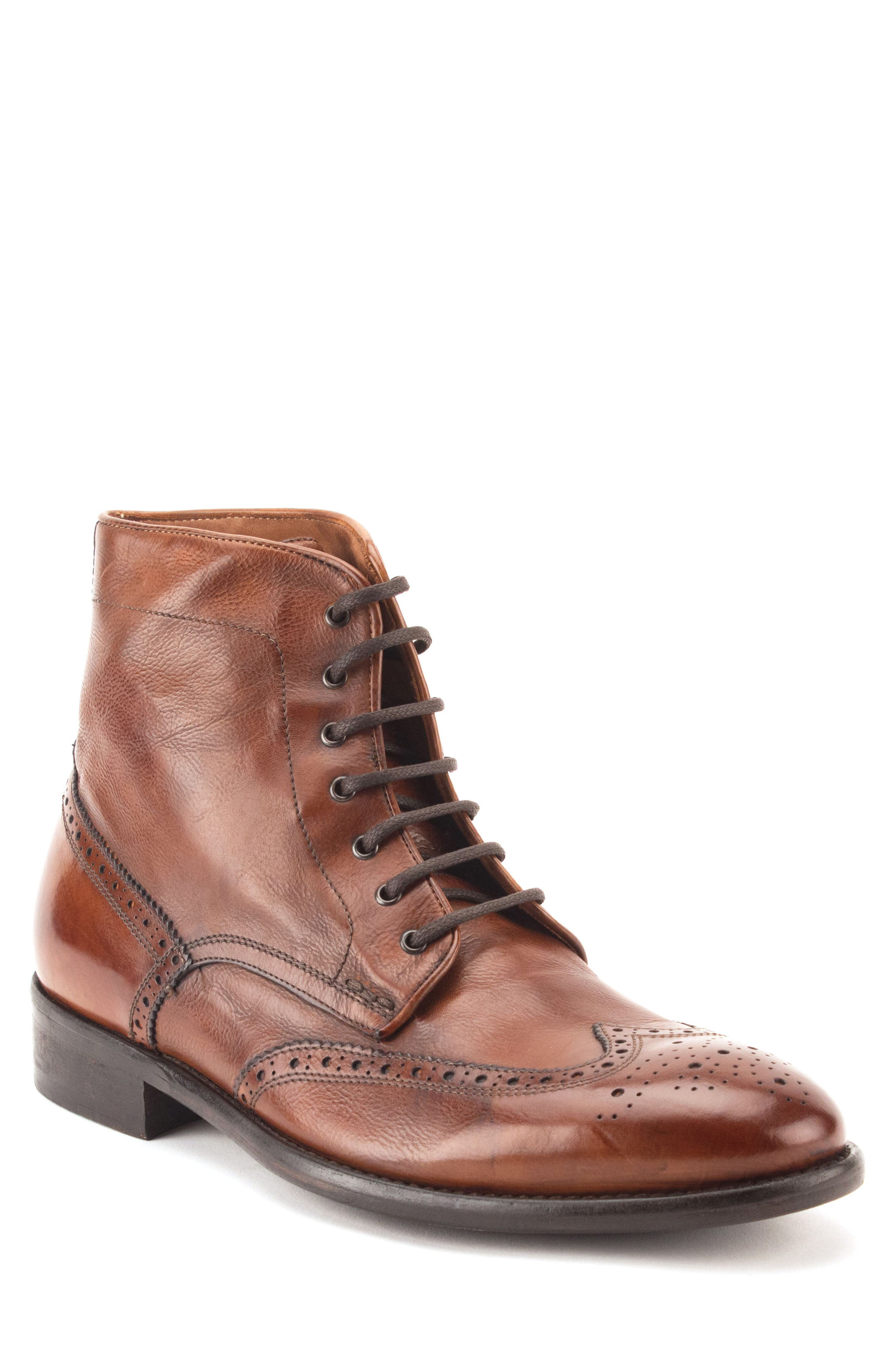 Maxfield Wingtip Boot,                         Main,                         color, Cognac Leather