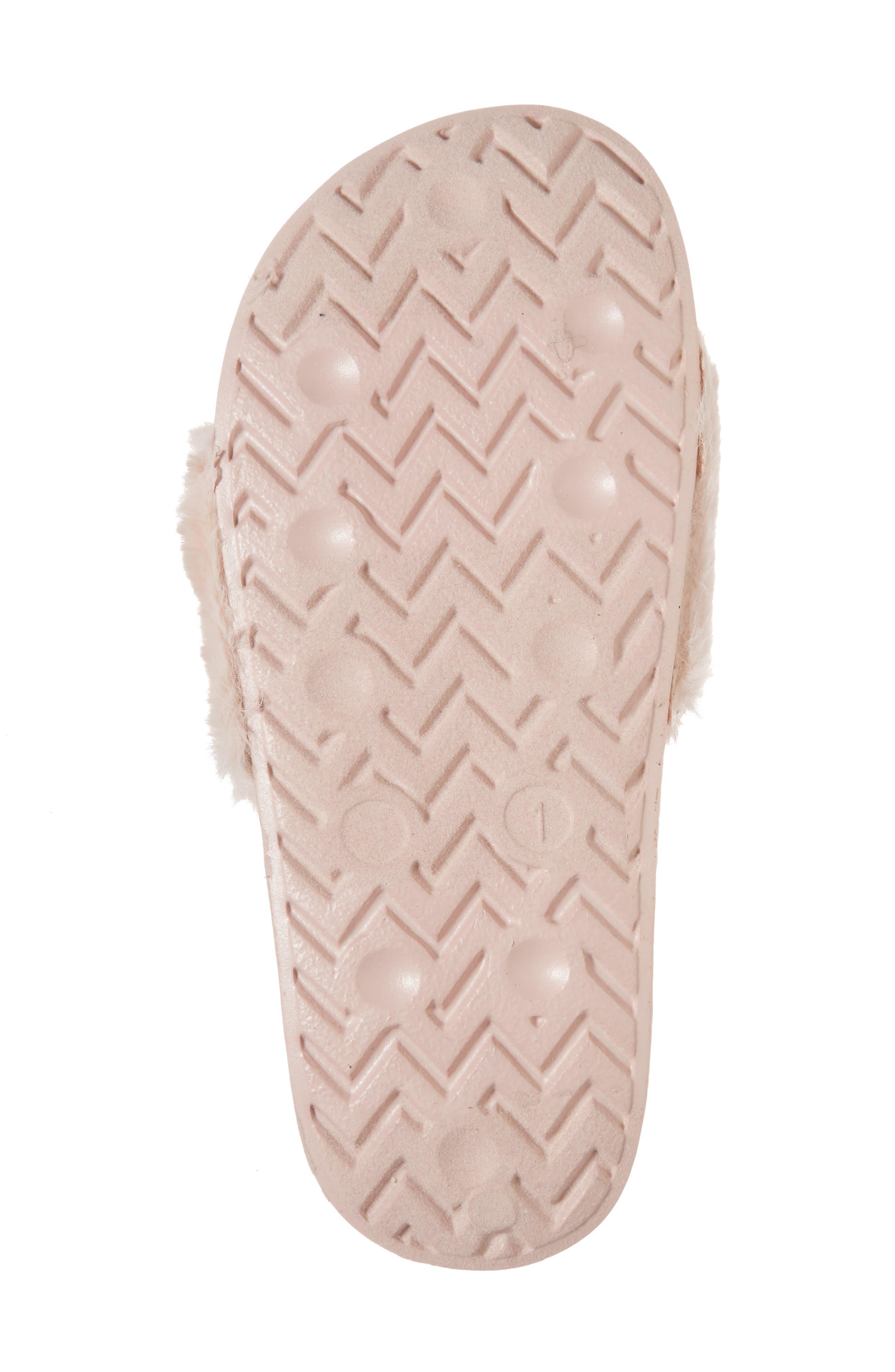 Mackie Furry Faux Fur Slide Sandal,                             Alternate thumbnail 6, color,                             Blush Faux Fur