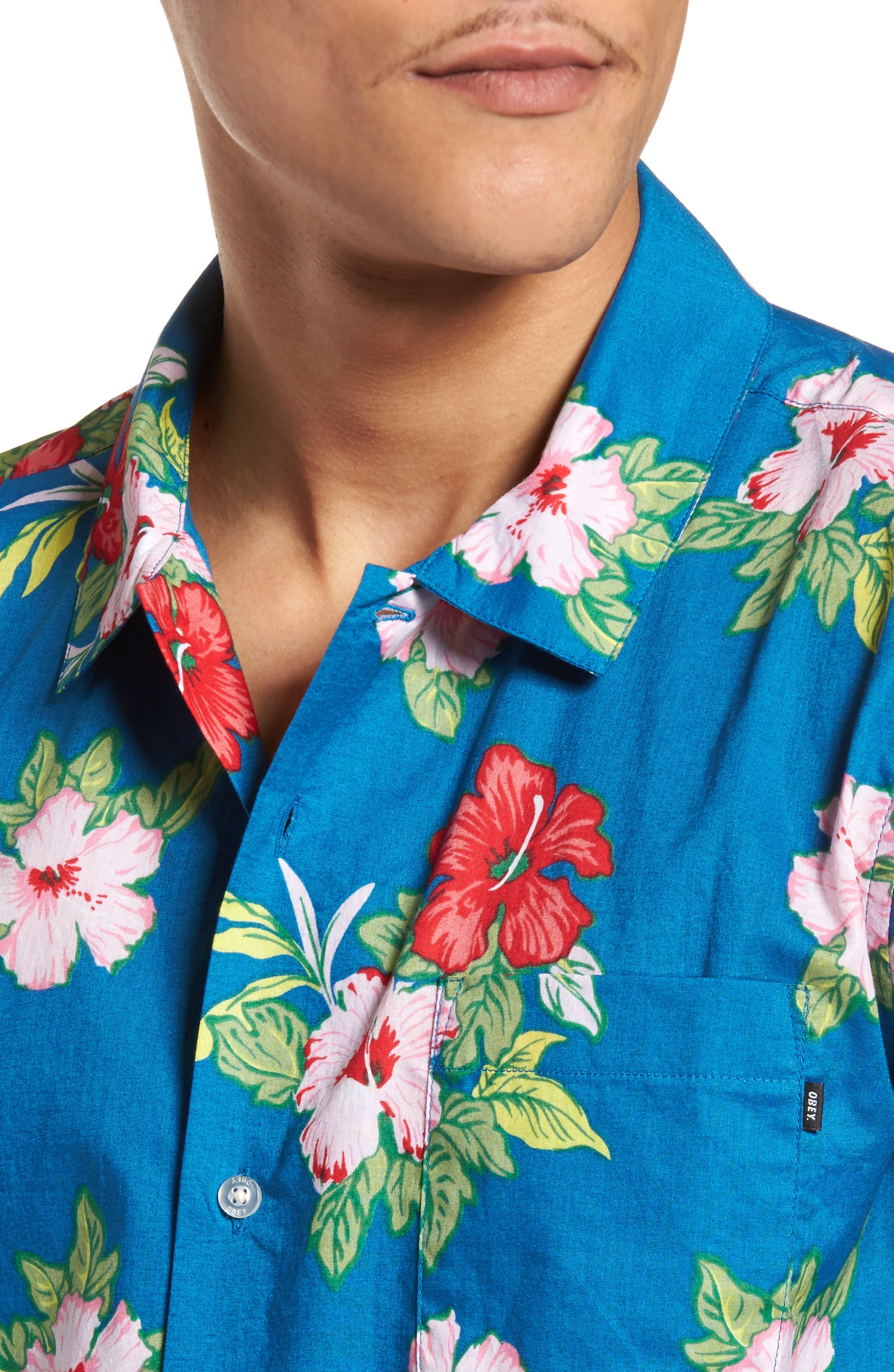 Kane Woven Shirt,                             Alternate thumbnail 4, color,                             Navy Multi