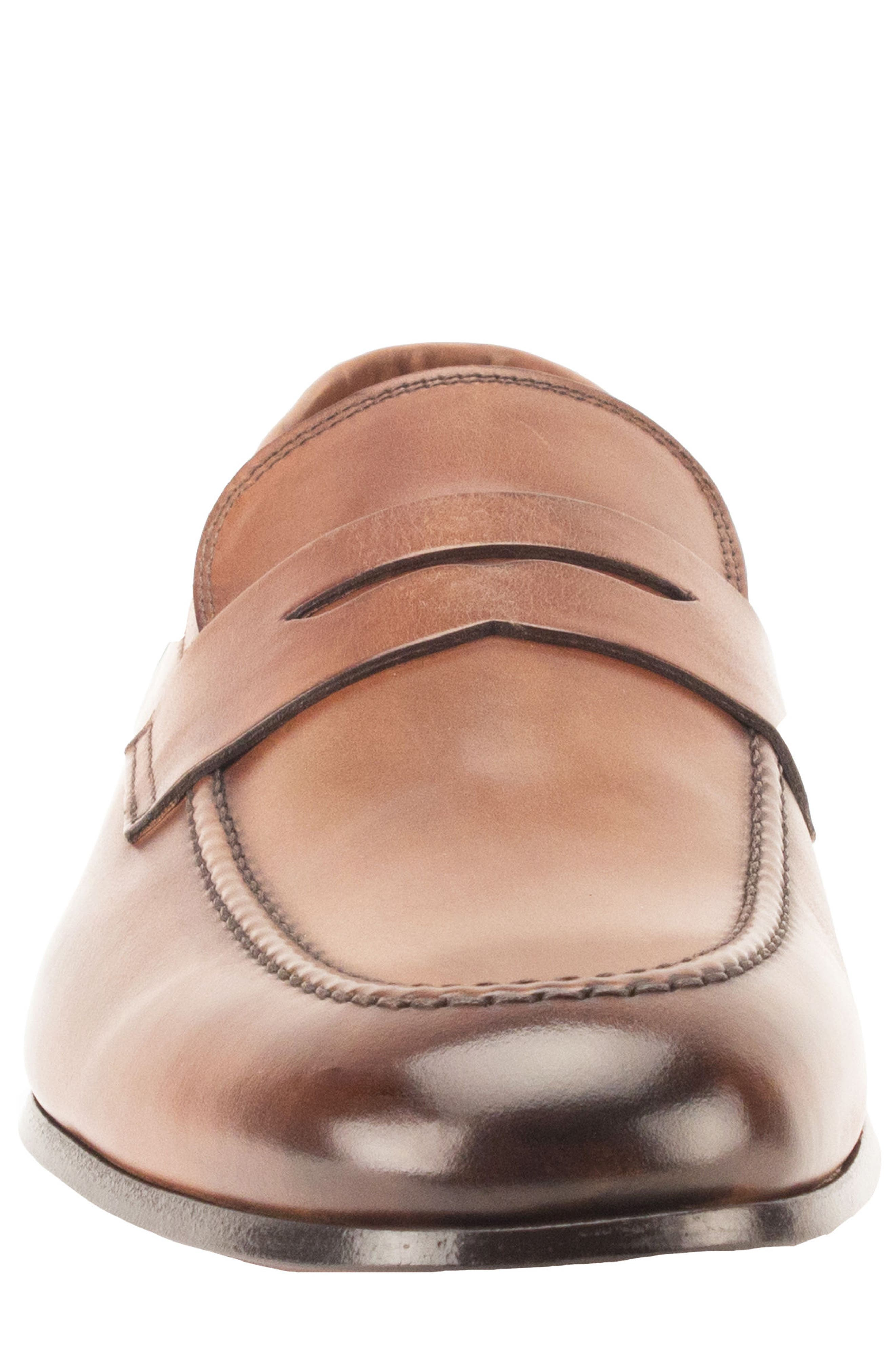 Coleman Apron Toe Penny Loafer,                             Alternate thumbnail 4, color,                             Tan Leather
