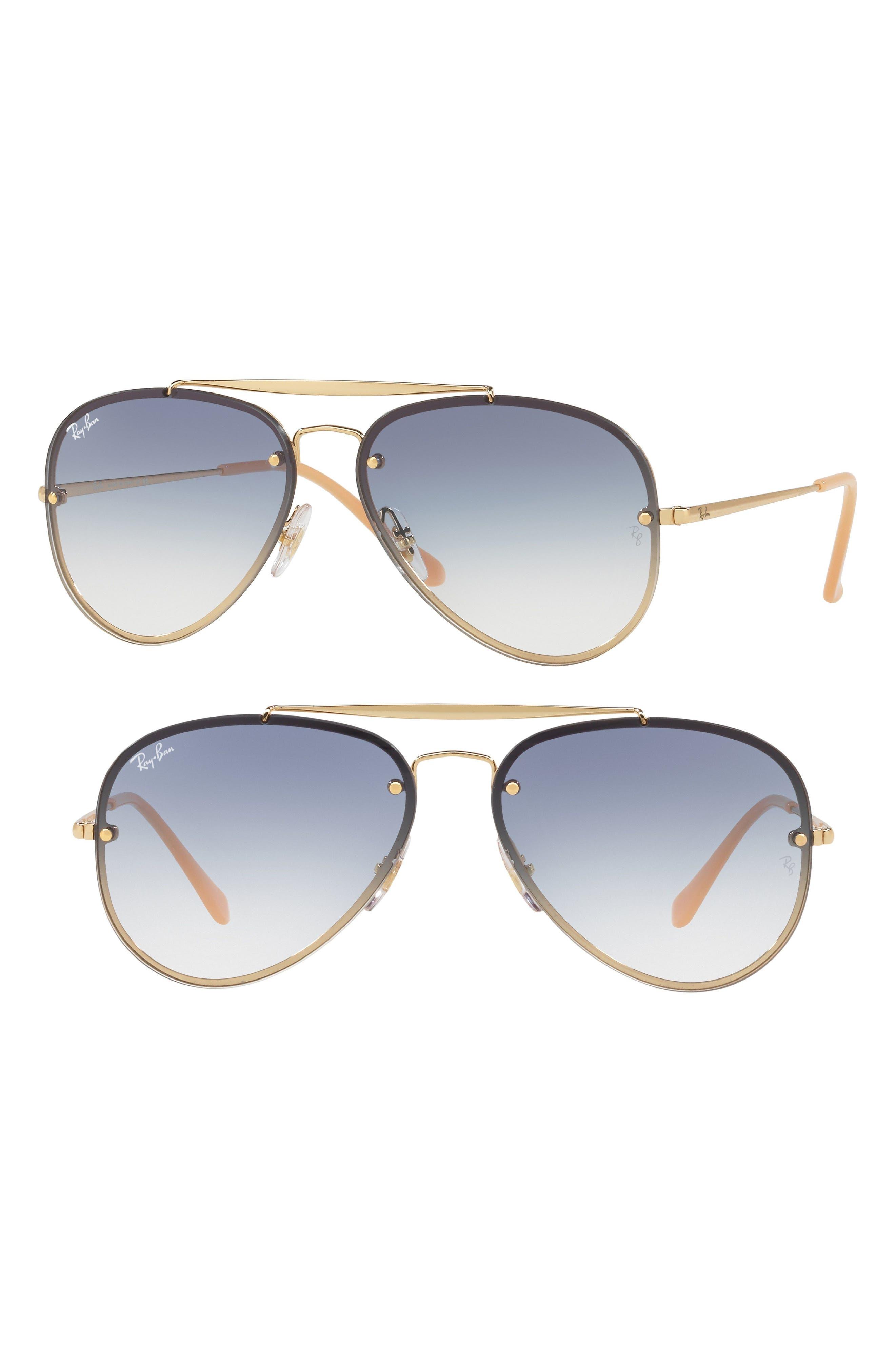 61mm Gradient Lens Aviator Sunglasses,                         Main,                         color, Gold Blue