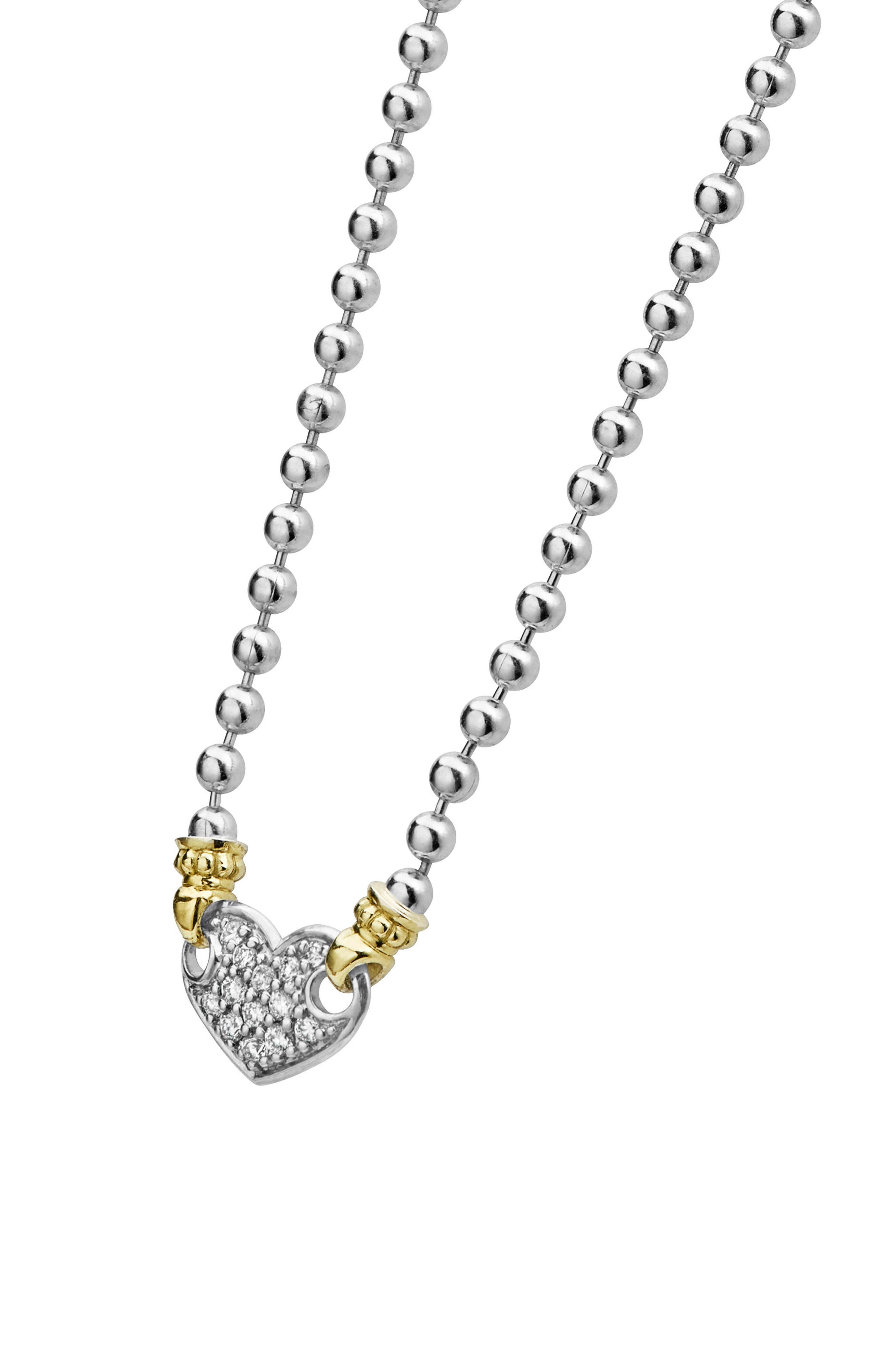 Beloved Diamond Pavé Heart Chain Necklace,                             Alternate thumbnail 4, color,                             Silver/ Diamond