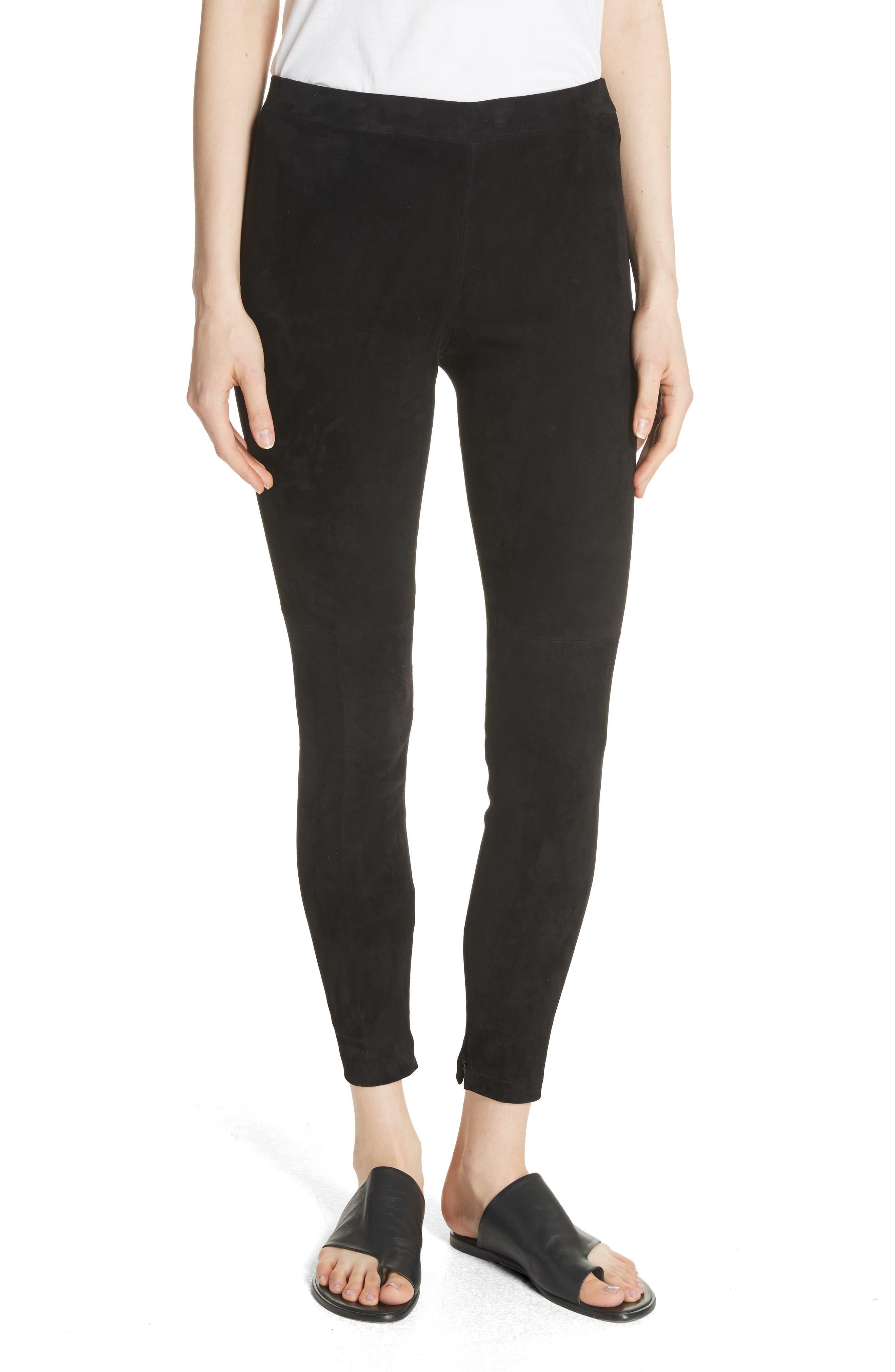 Suede Ankle Zip Leggings,                         Main,                         color, Black