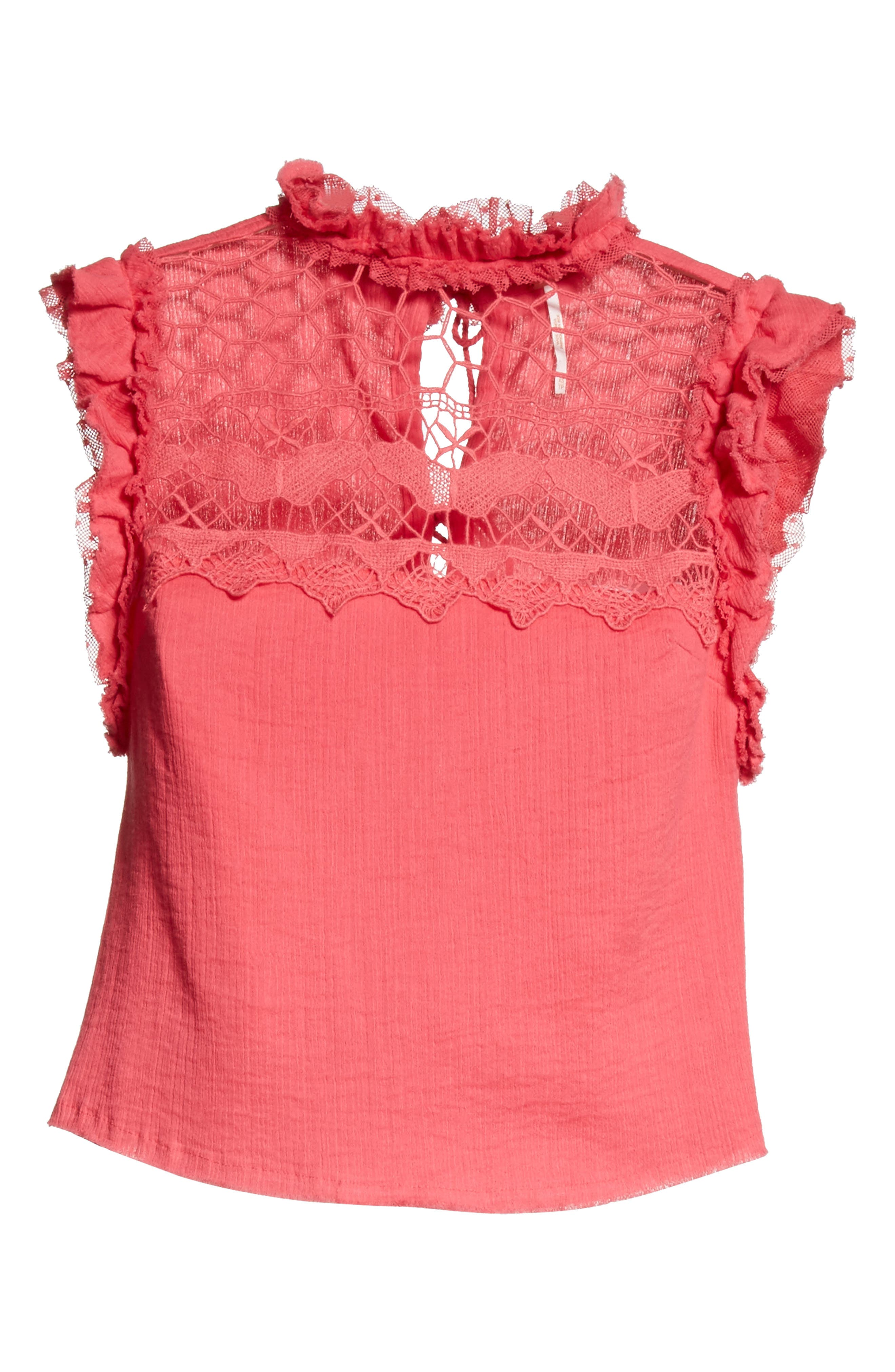 Simply Smiles Crochet Top,                             Alternate thumbnail 6, color,                             Red