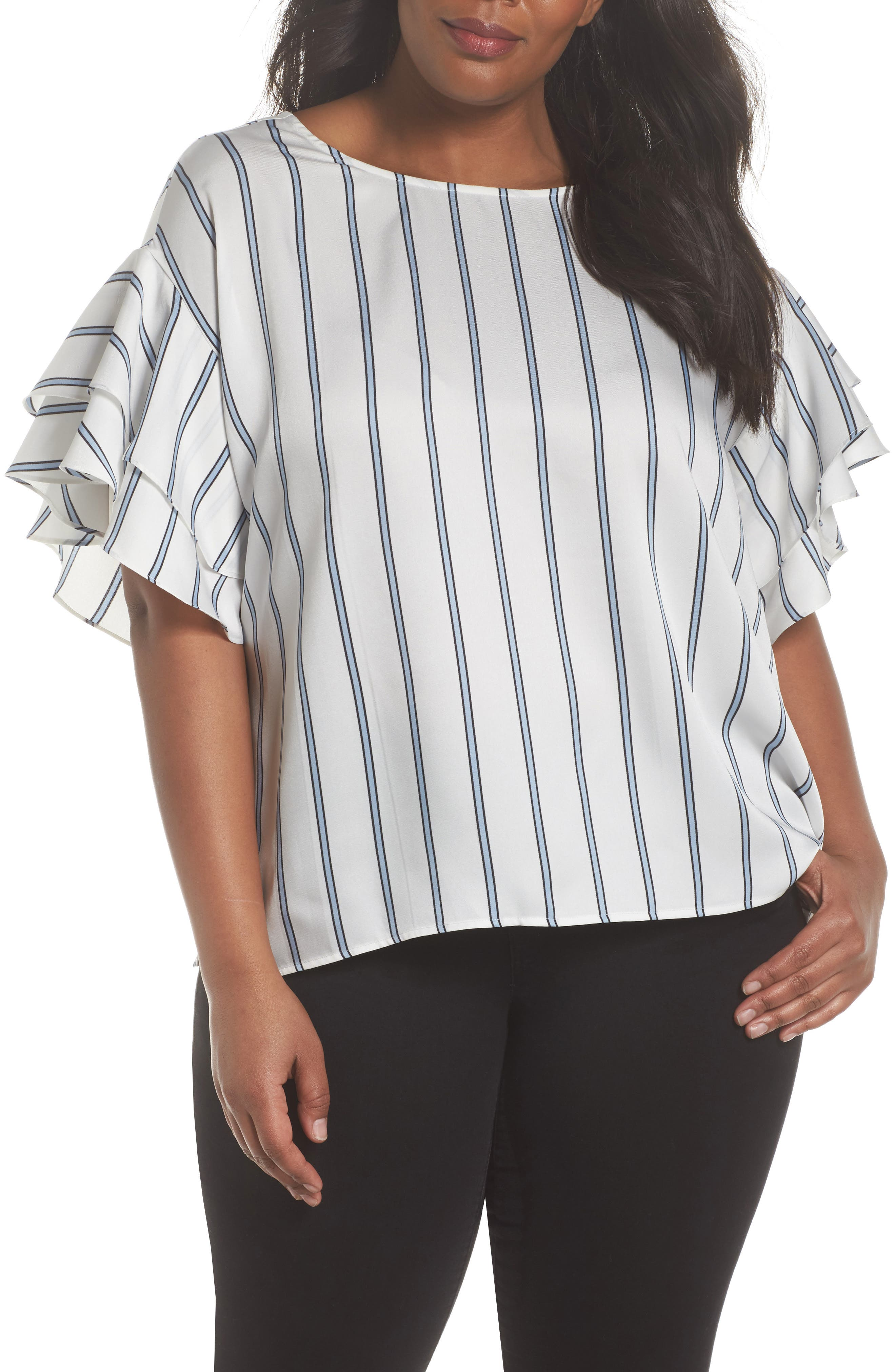 Vince Camuto Tiered Ruffle Sleeve Stripe Top (Plus Size)