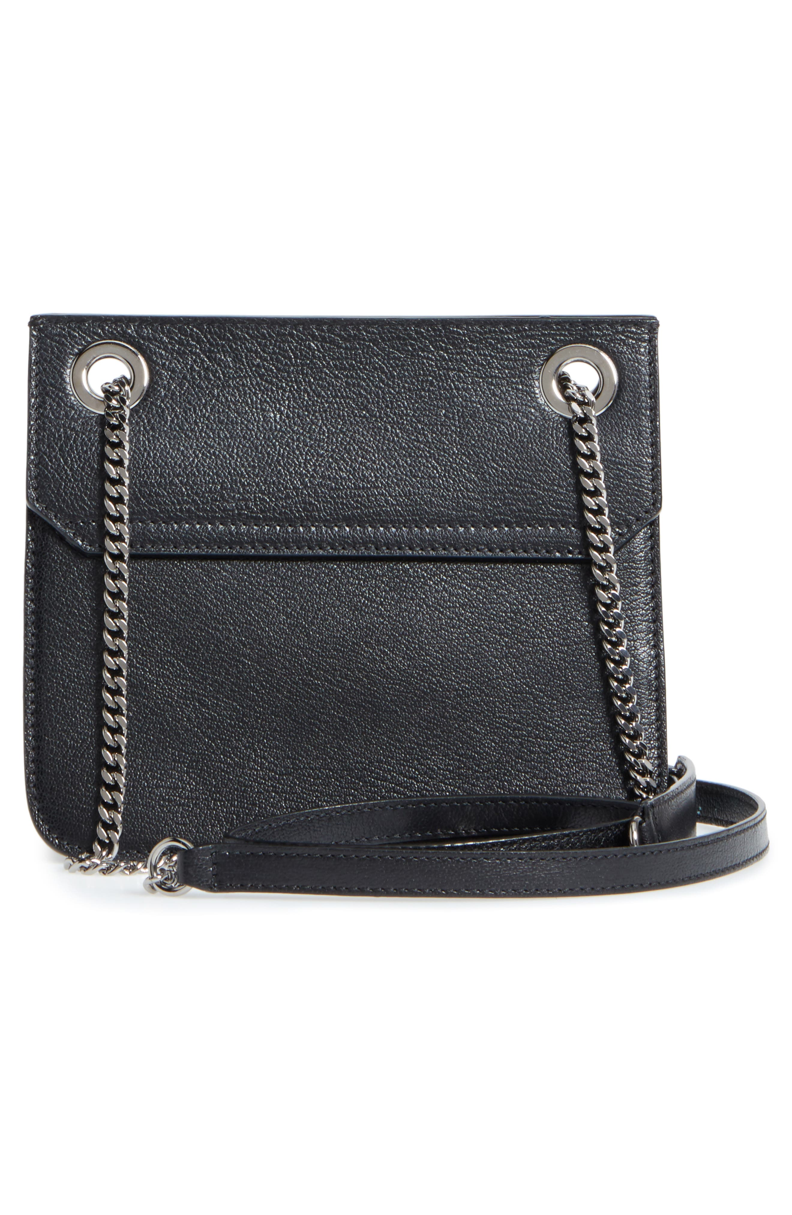 Rebel Leather Crossbody Bag,                             Alternate thumbnail 3, color,                             Black/ Gunmetal