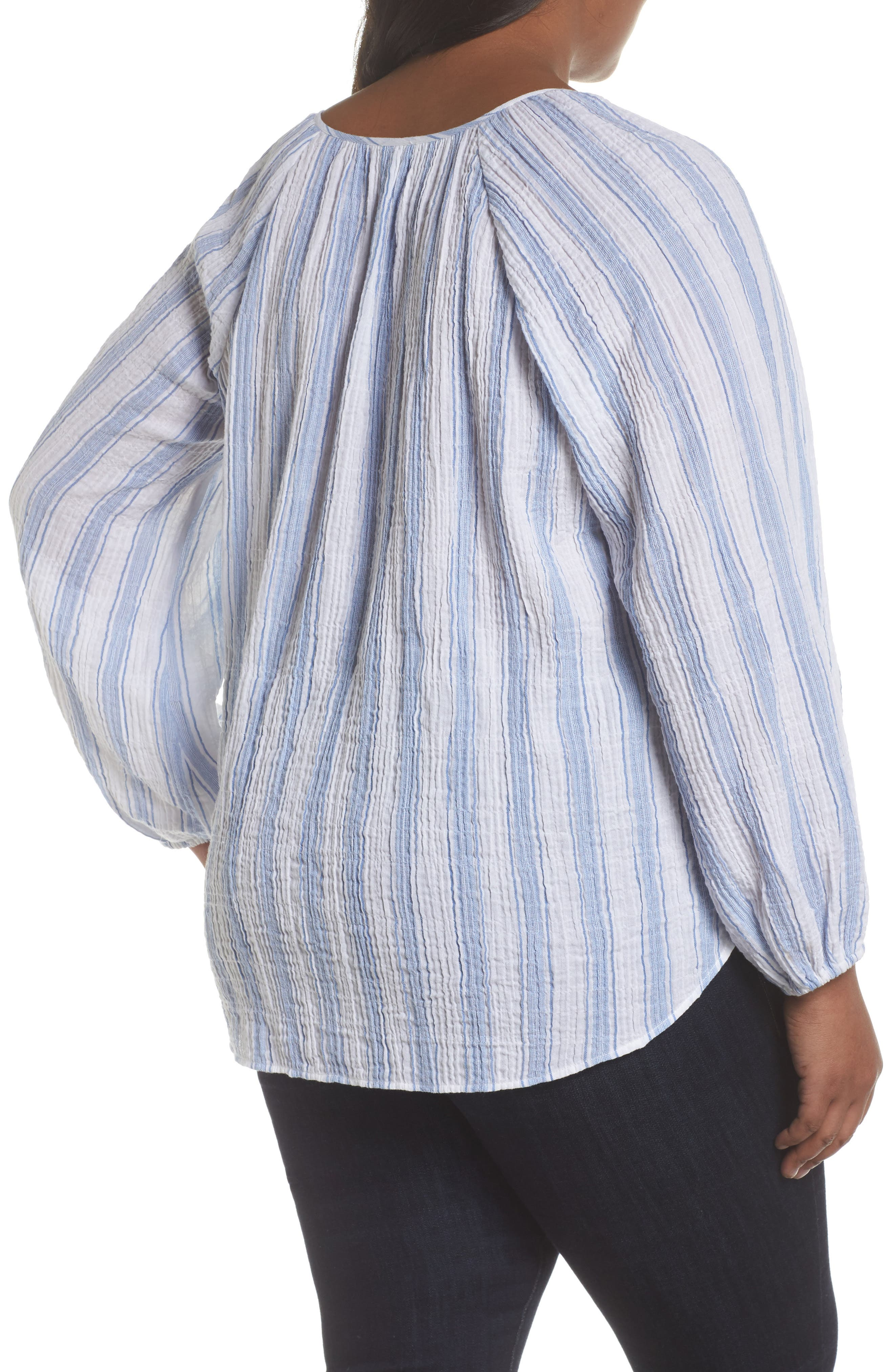 Embroidered Stripe Top,                             Alternate thumbnail 2, color,                             Patina Blue