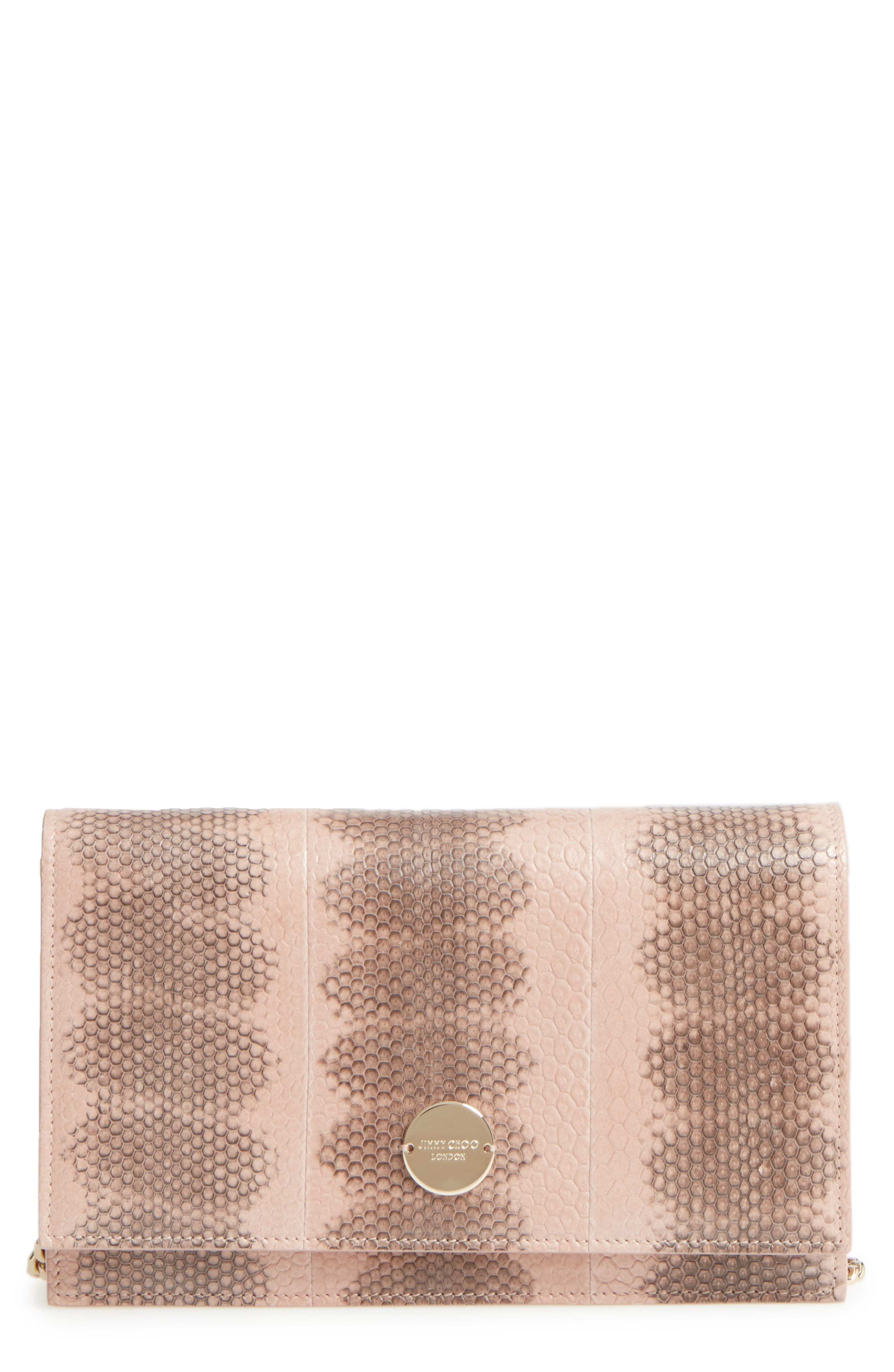 Alternate Image 1 Selected - Jimmy Choo Florence Genuine Snakeskin Crossbody Bag