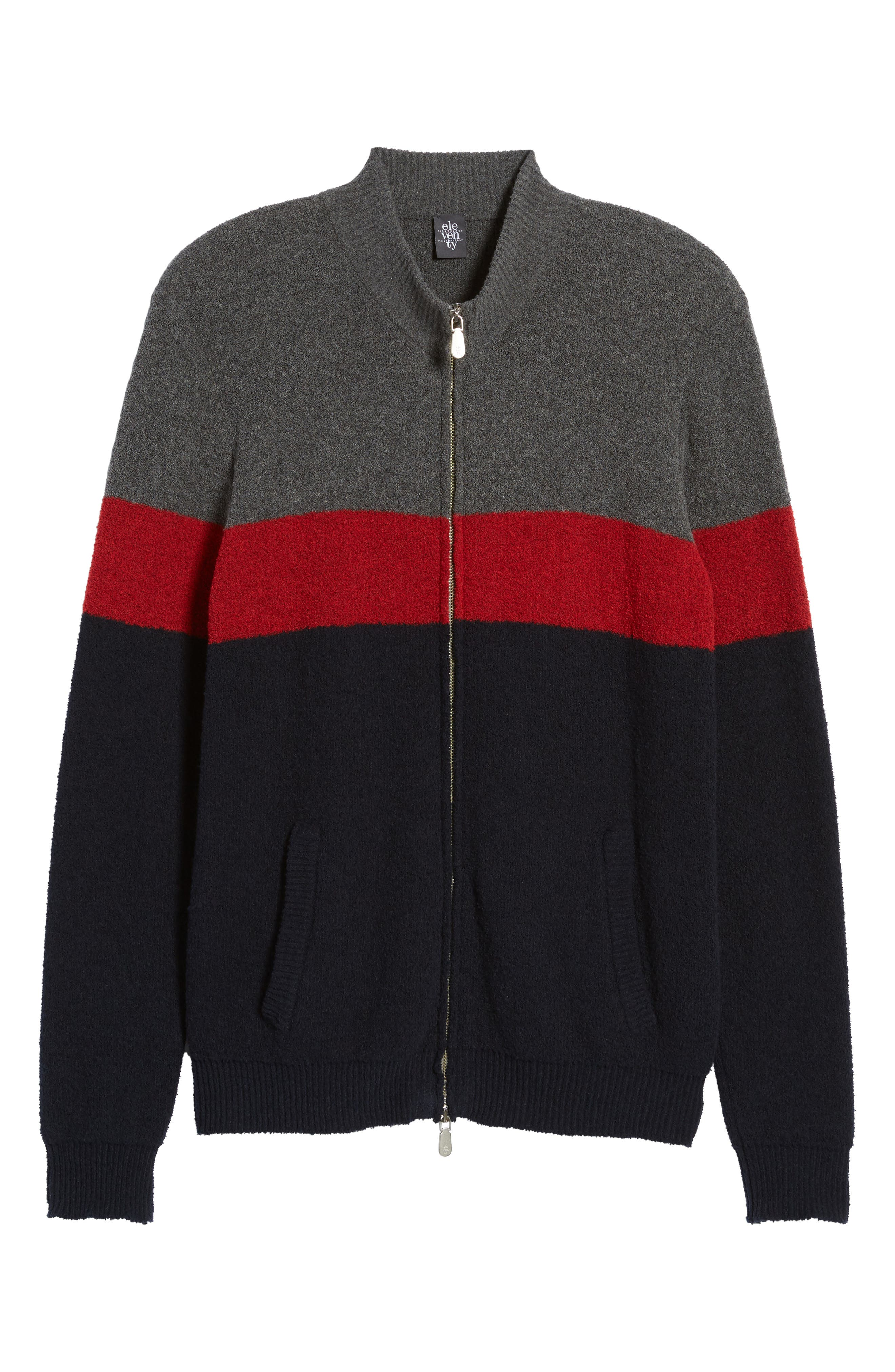 Colorblock Zip Sweater,                             Alternate thumbnail 6, color,                             Navy/ Red