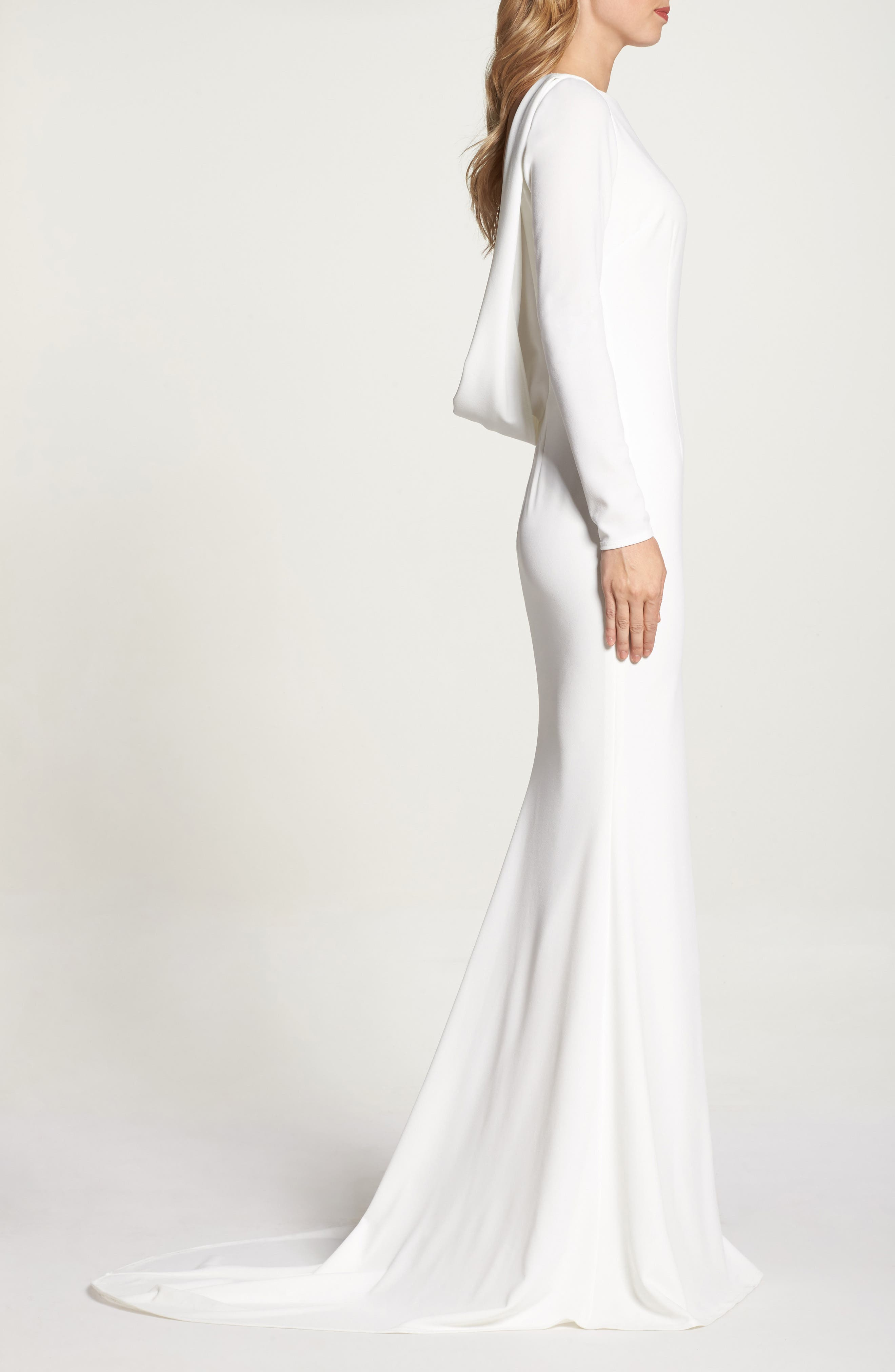 Cowl Back Crepe Gown,                             Alternate thumbnail 10, color,                             Ivory