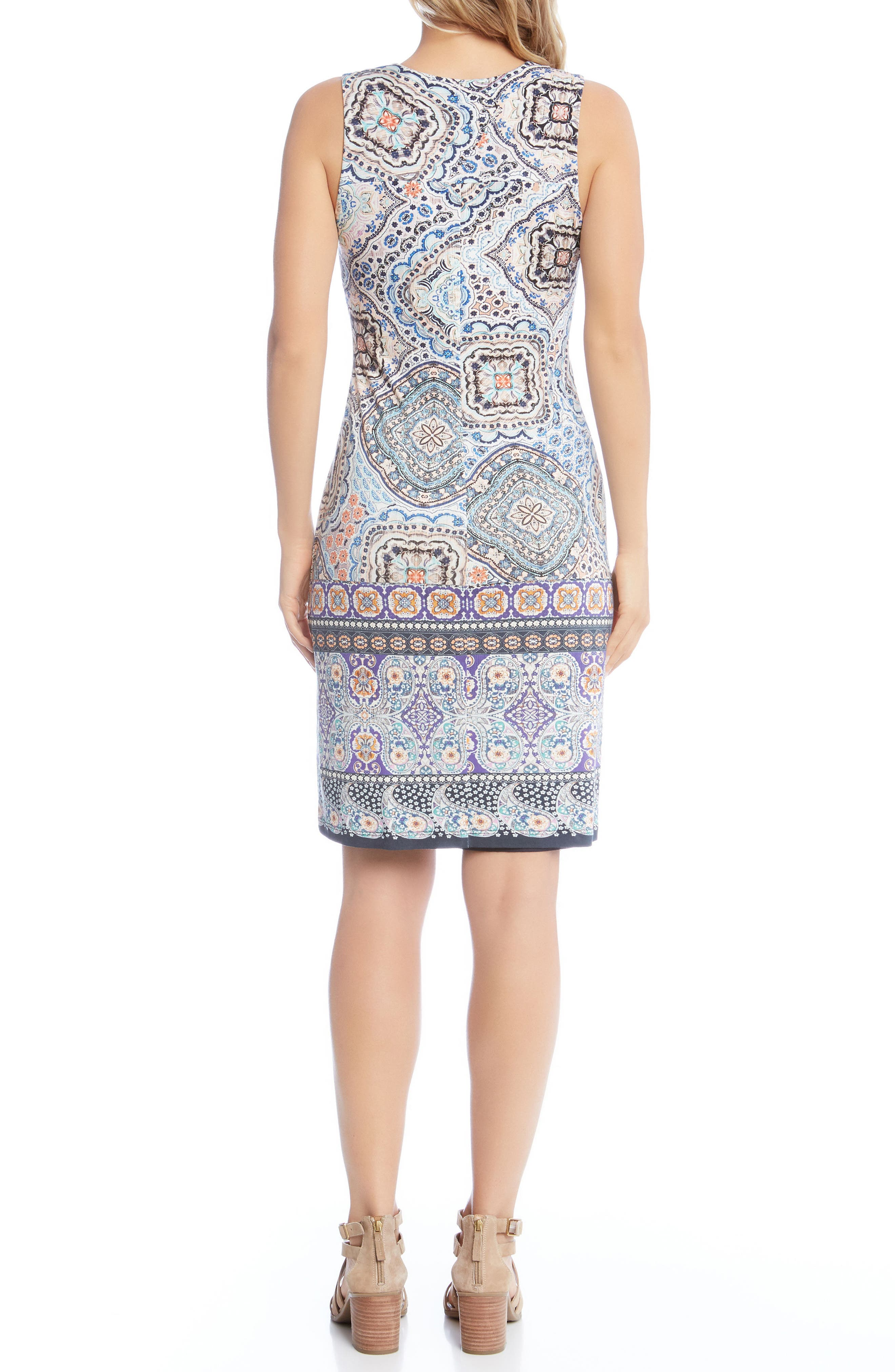 Tuscan Tile Sheath Dress,                             Alternate thumbnail 3, color,                             Print