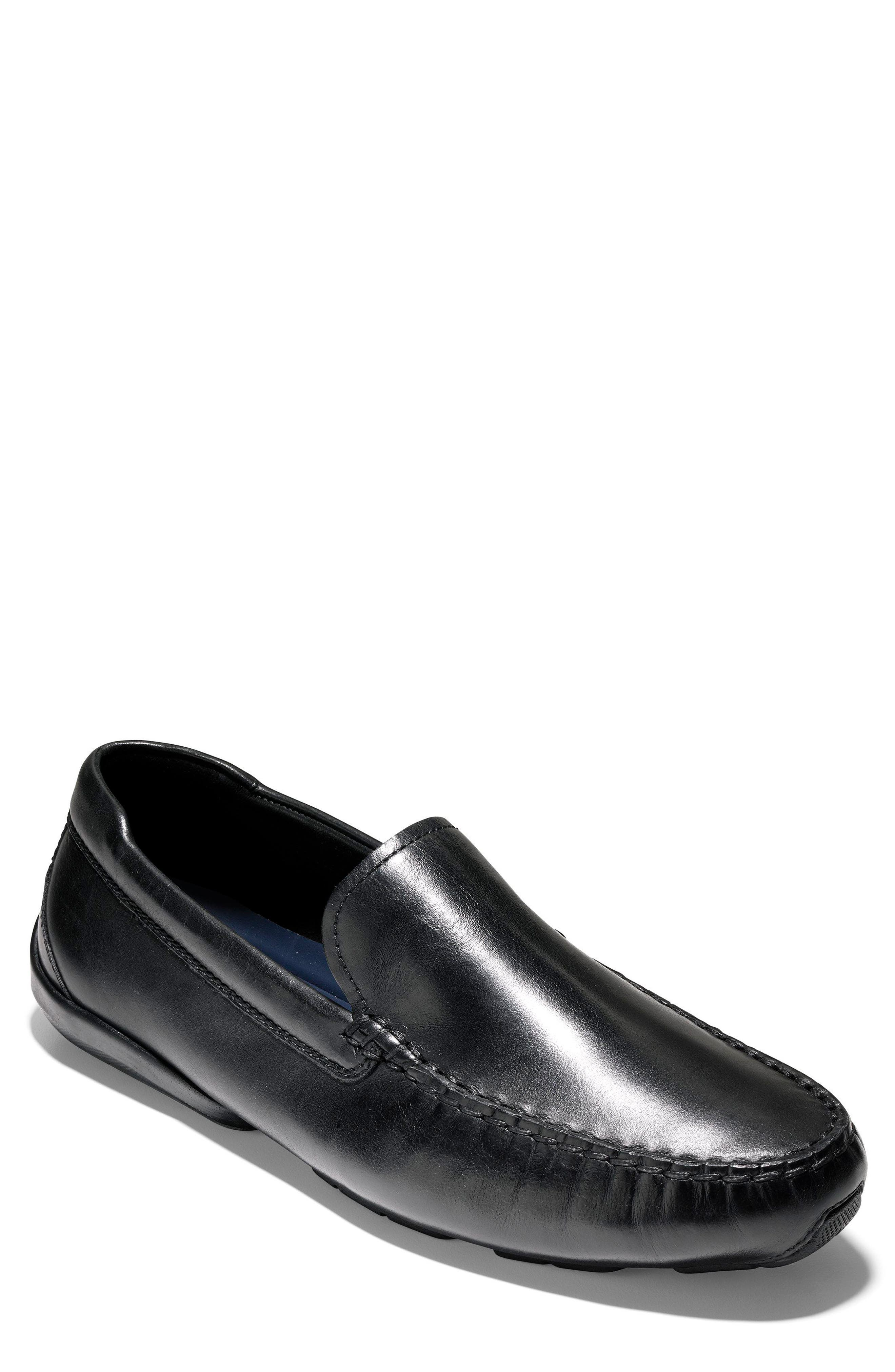 Branson Driving Shoe,                         Main,                         color, Black Leather