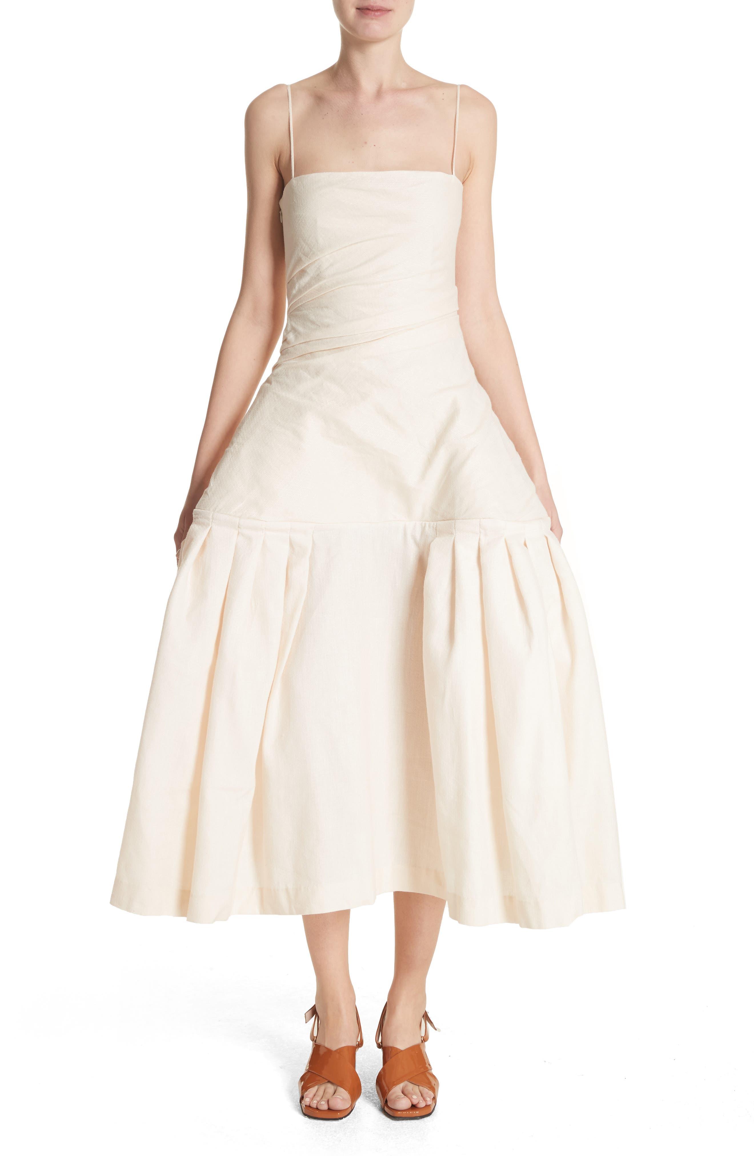 La Robe Limao Linen & Cotton Trumpet Dress,                             Main thumbnail 1, color,                             Beige