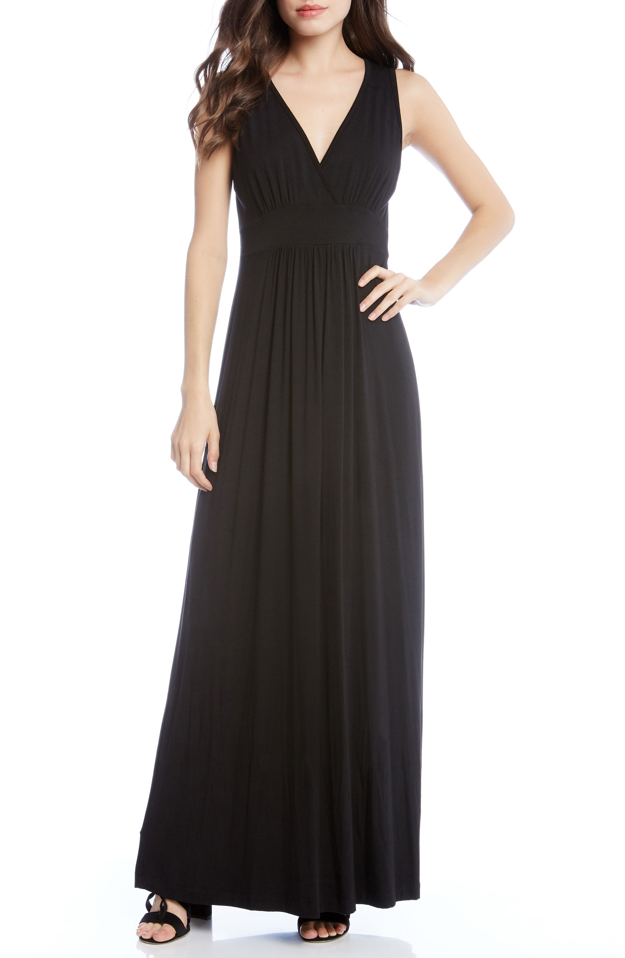 Jersey Knit Maxi Dress,                             Main thumbnail 1, color,                             Black
