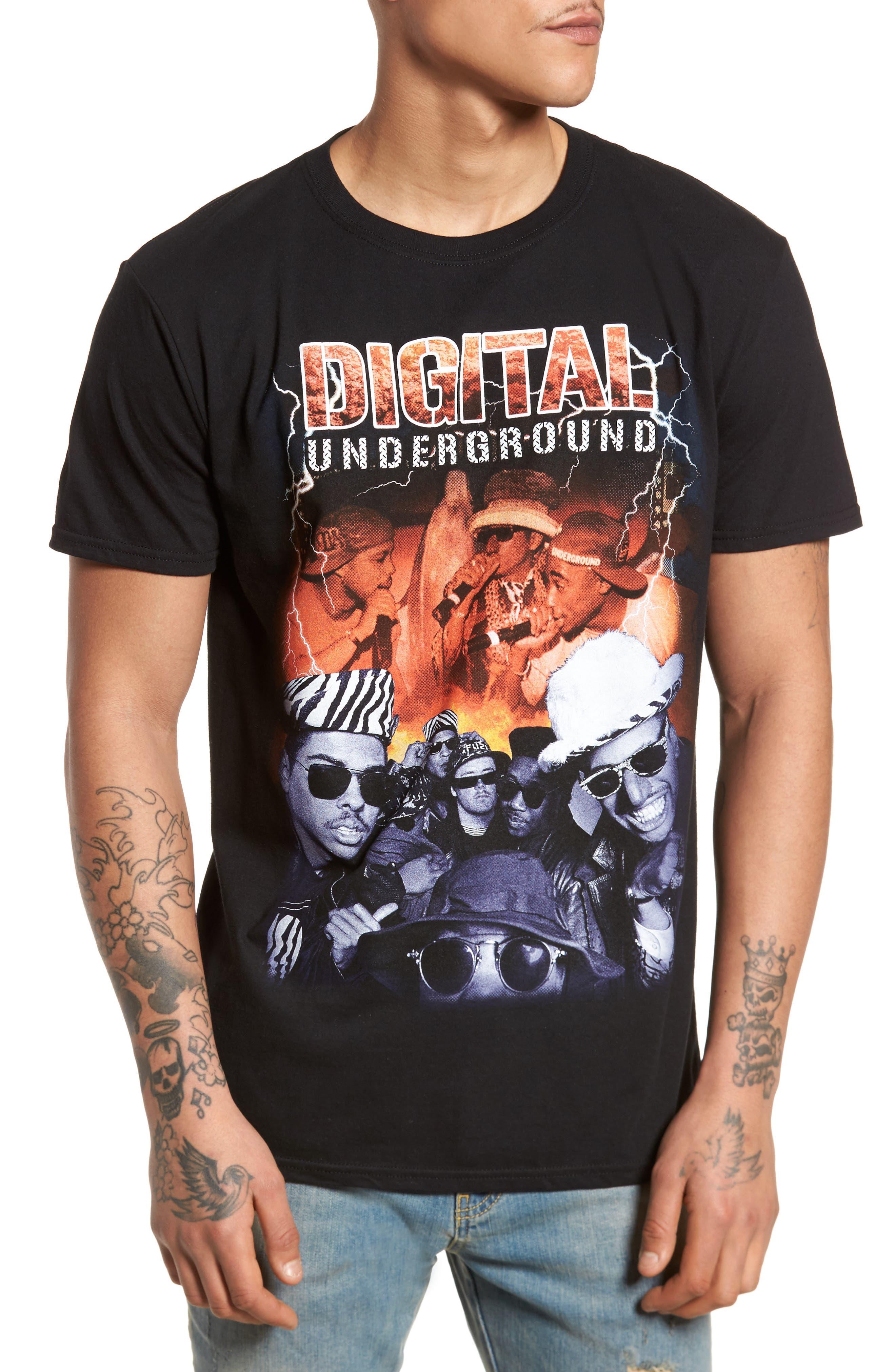Digital Underground Graphic T-Shirt,                             Main thumbnail 1, color,                             Black Lightning D. Underground