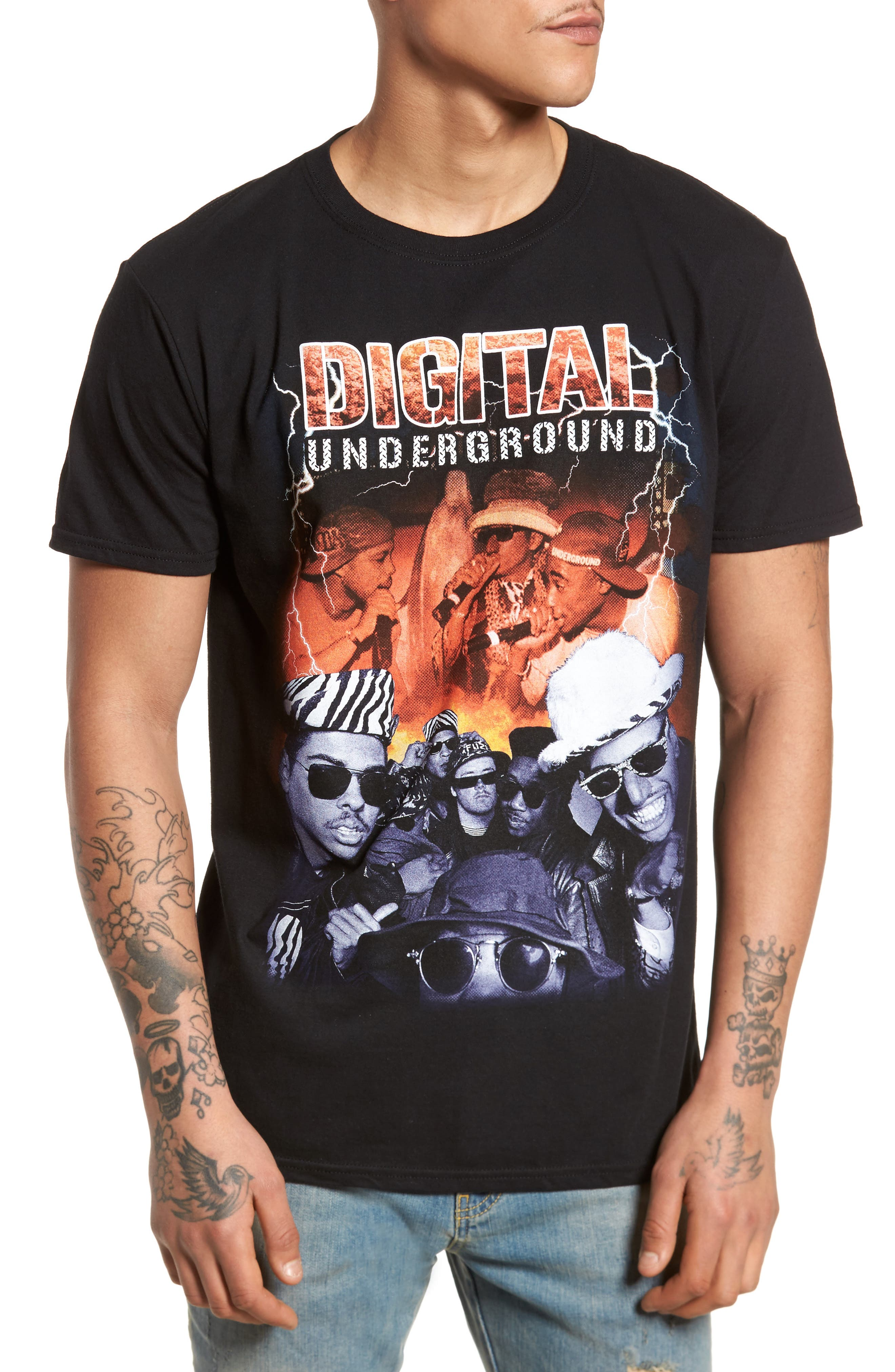 Digital Underground Graphic T-Shirt,                         Main,                         color, Black Lightning D. Underground