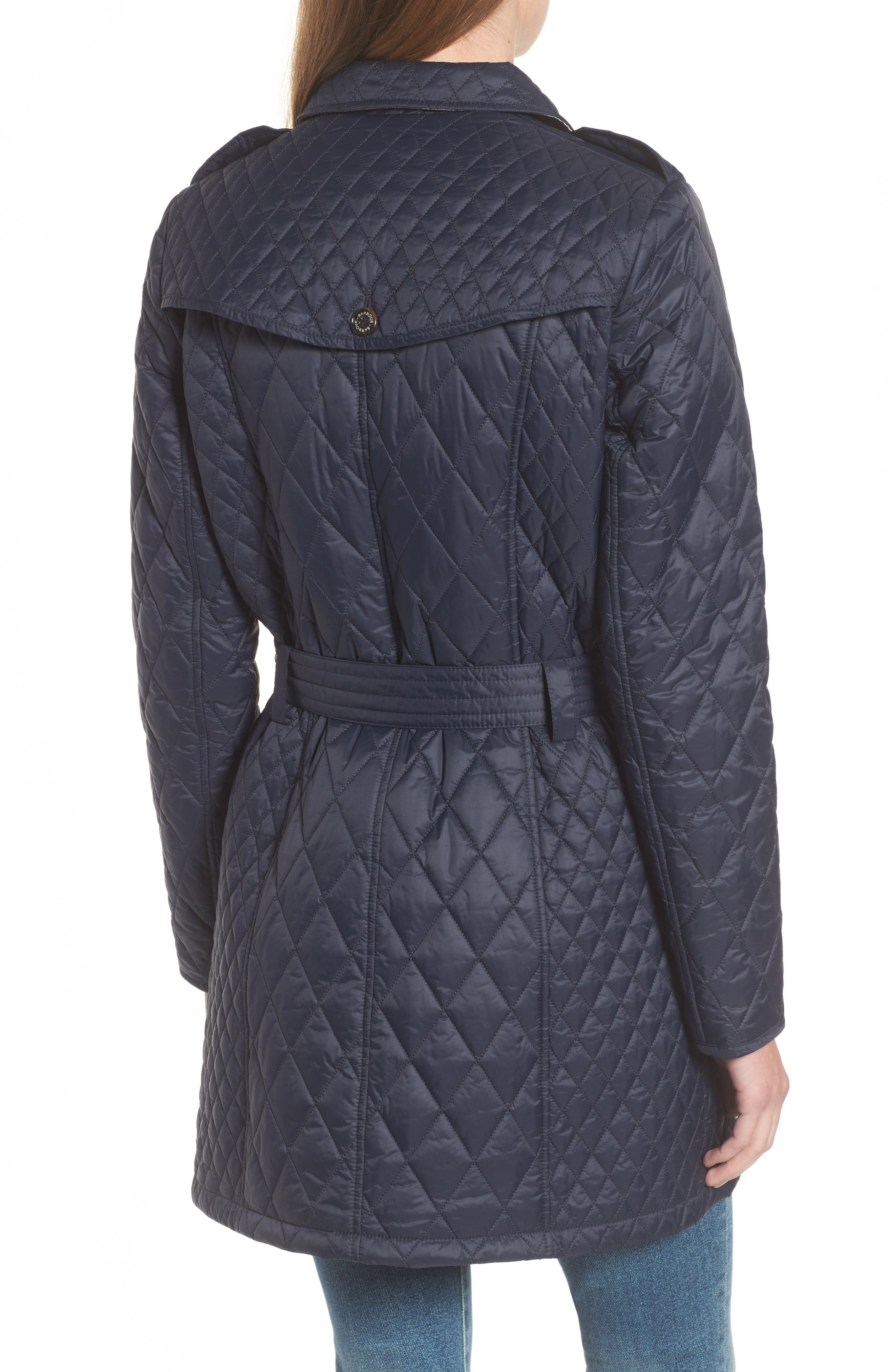 Hailes Quilted Trench Jacket,                             Alternate thumbnail 2, color,                             Navy