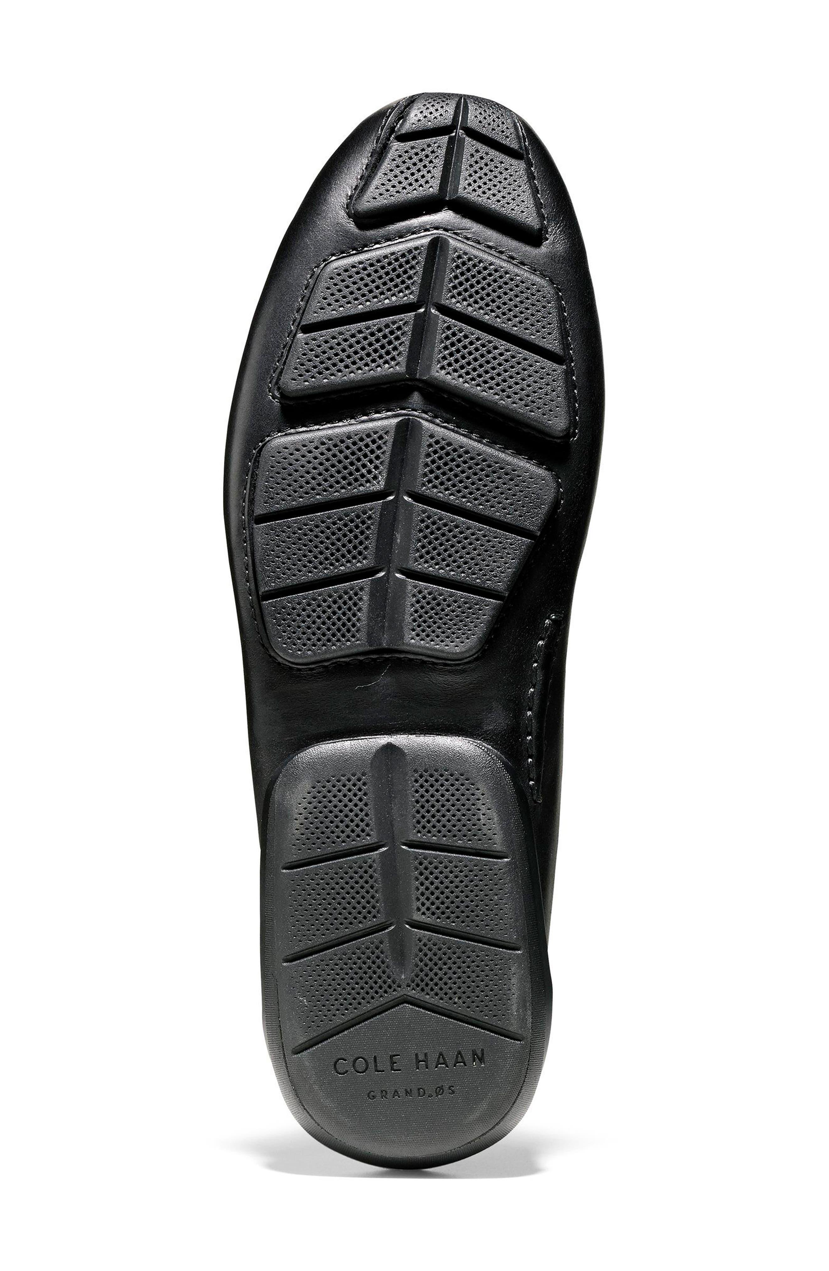 Branson Driving Shoe,                             Alternate thumbnail 6, color,                             Black Leather