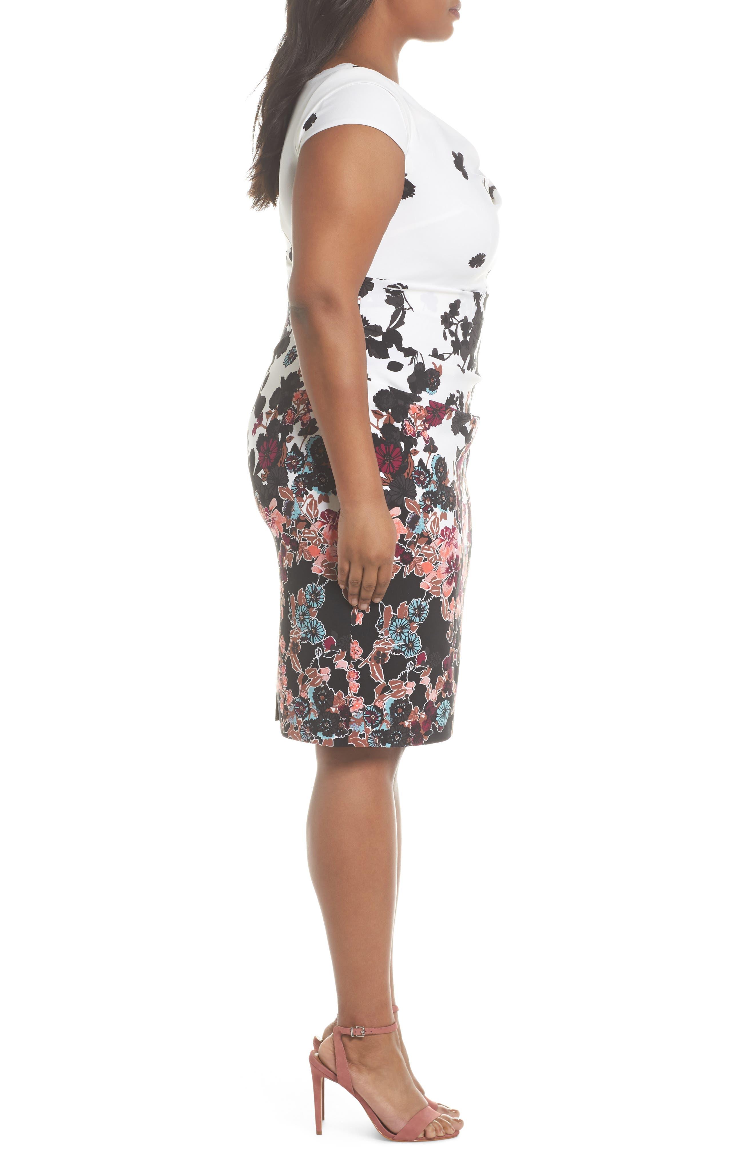 Alternate Image 3  - Adrianna Papell Floral Bliss Draped Sheath Dress (Plus Size)