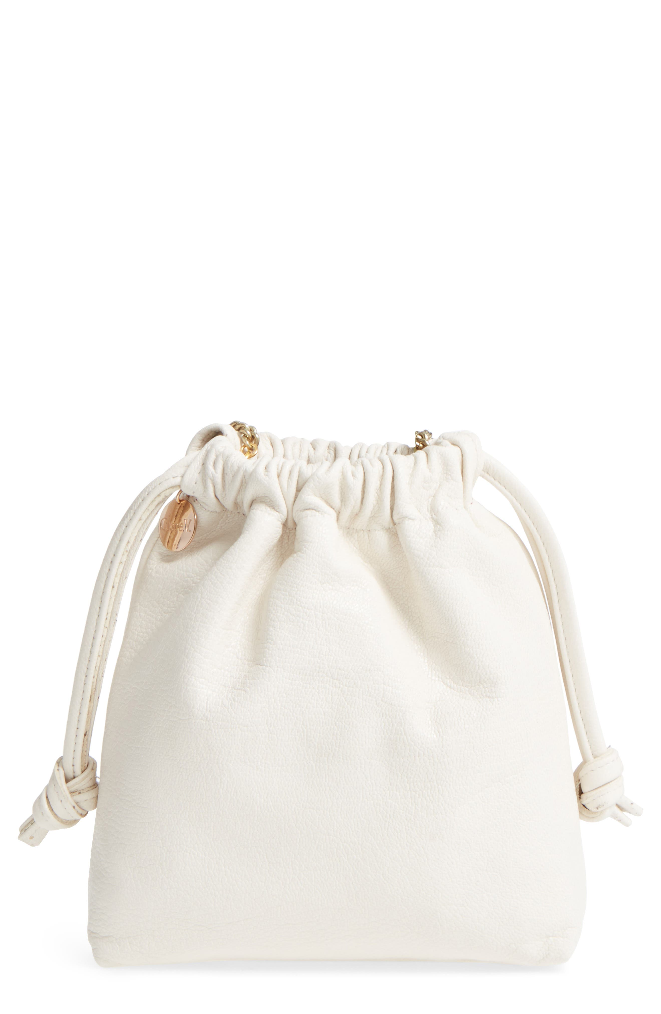 Leather Drawstring Wristlet Pouch,                             Main thumbnail 1, color,                             Cream Goat